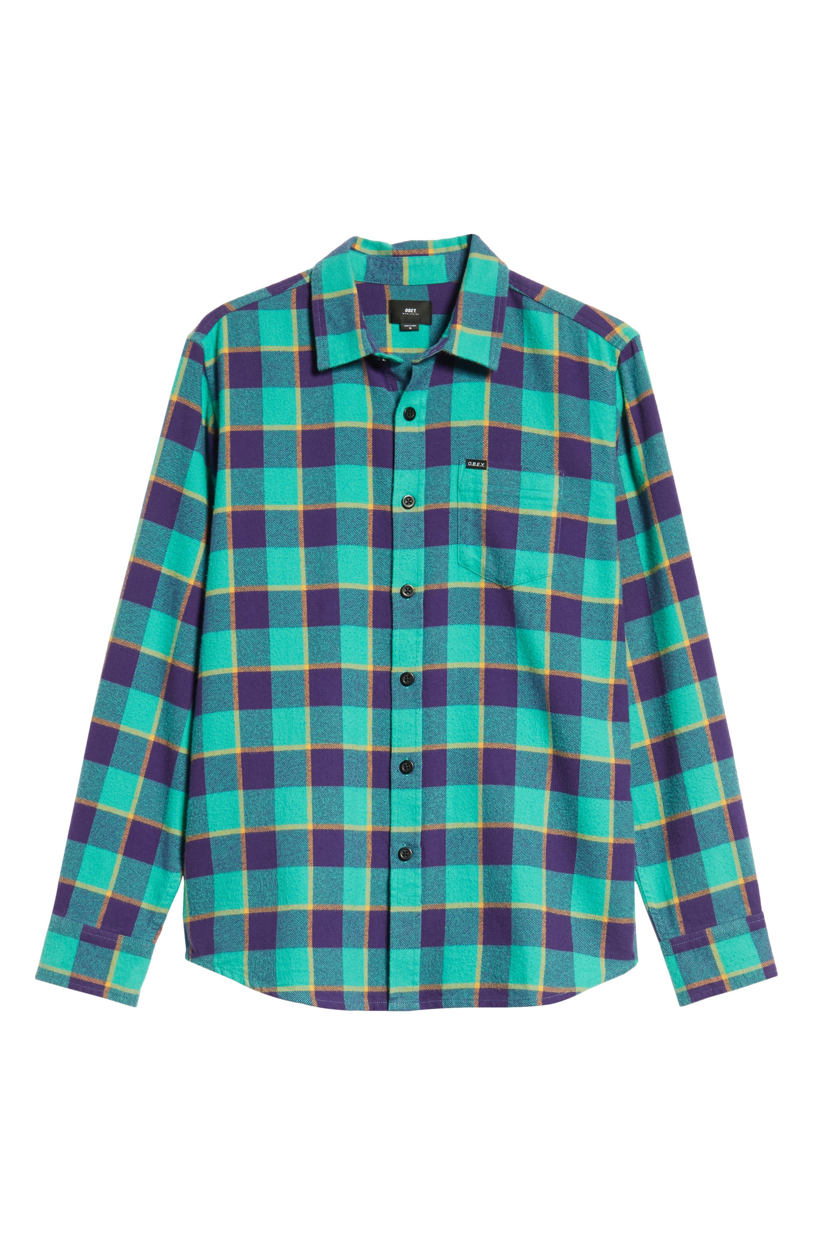 Ventura Plaid Flannel Shirt,                             Alternate thumbnail 5, color,                             TEAL MULTI