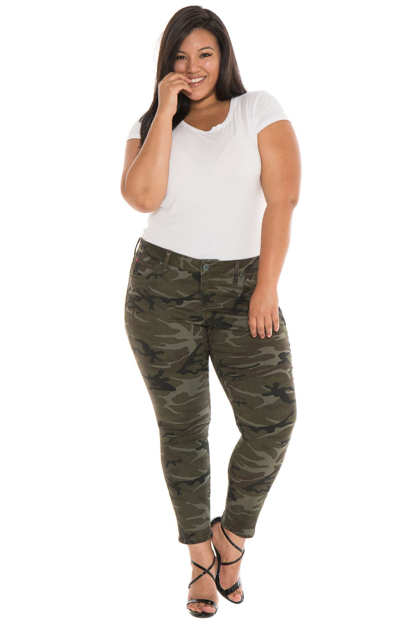Camo Ankle Skinny Jeans,                             Alternate thumbnail 4, color,                             305