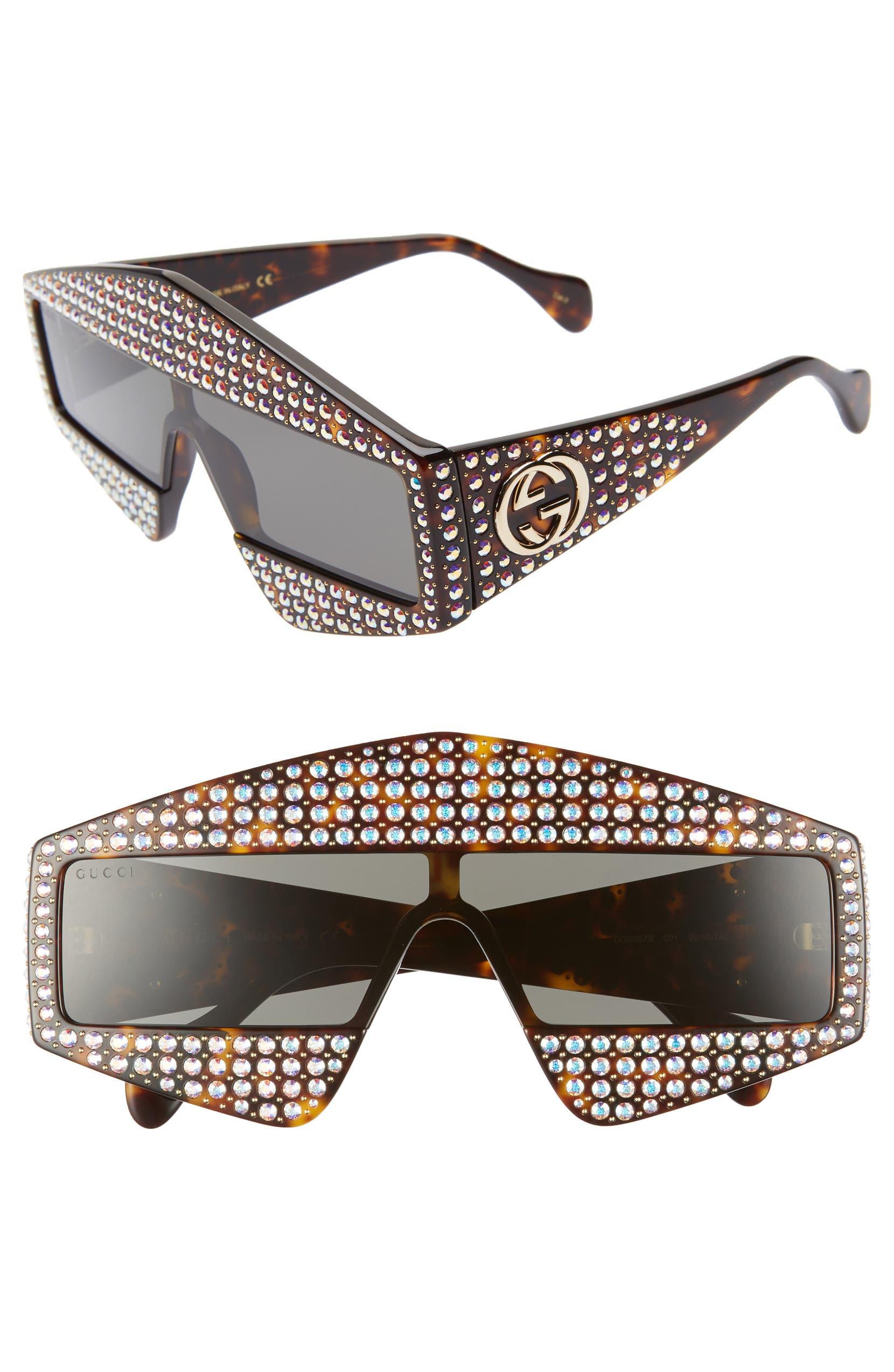 728ed4df2c920 Gucci 99mm Embellished Shield Sunglasses