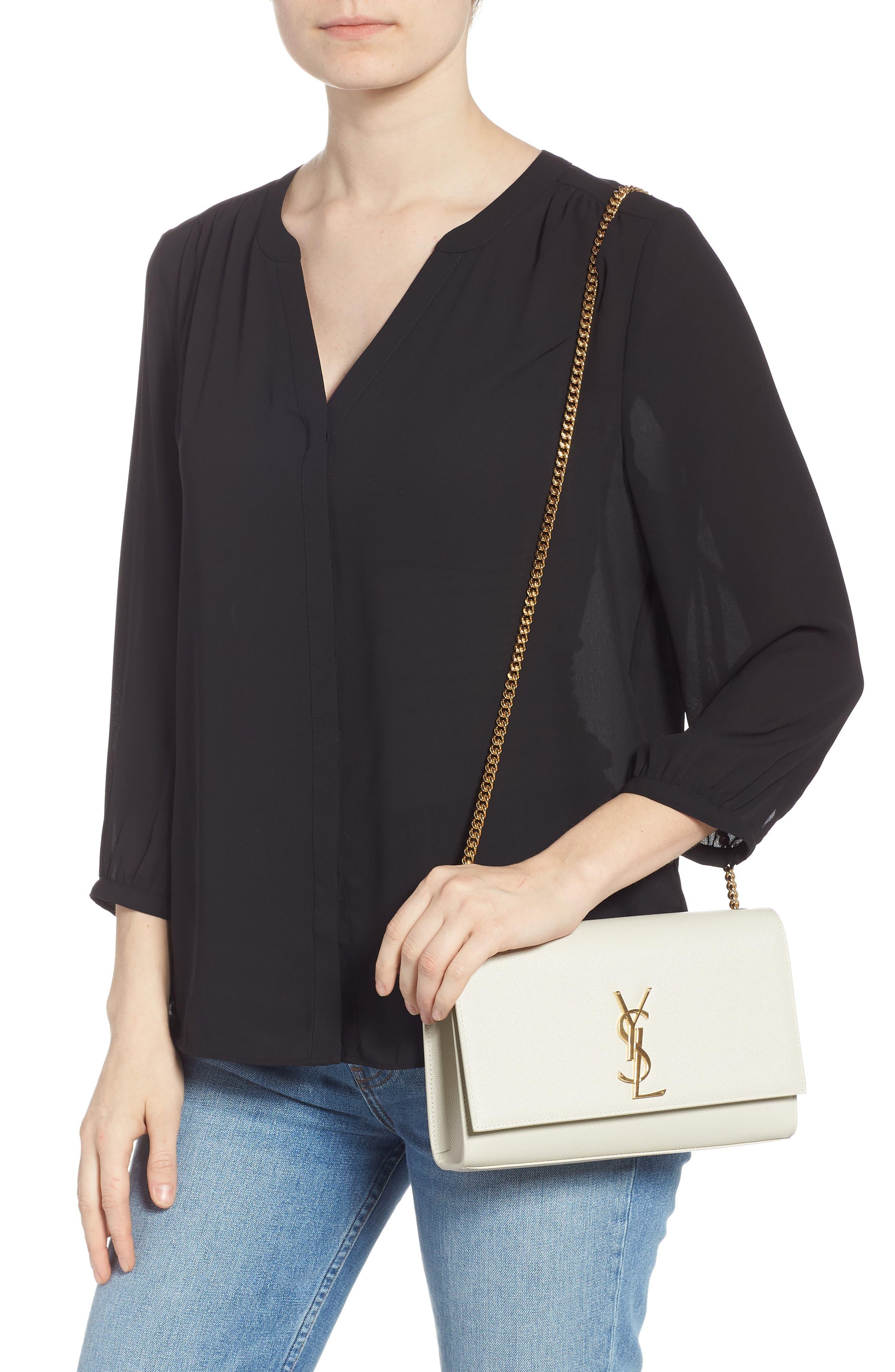 'Medium Kate' Leather Chain Shoulder Bag,                             Alternate thumbnail 2, color,                             CREMASOFT