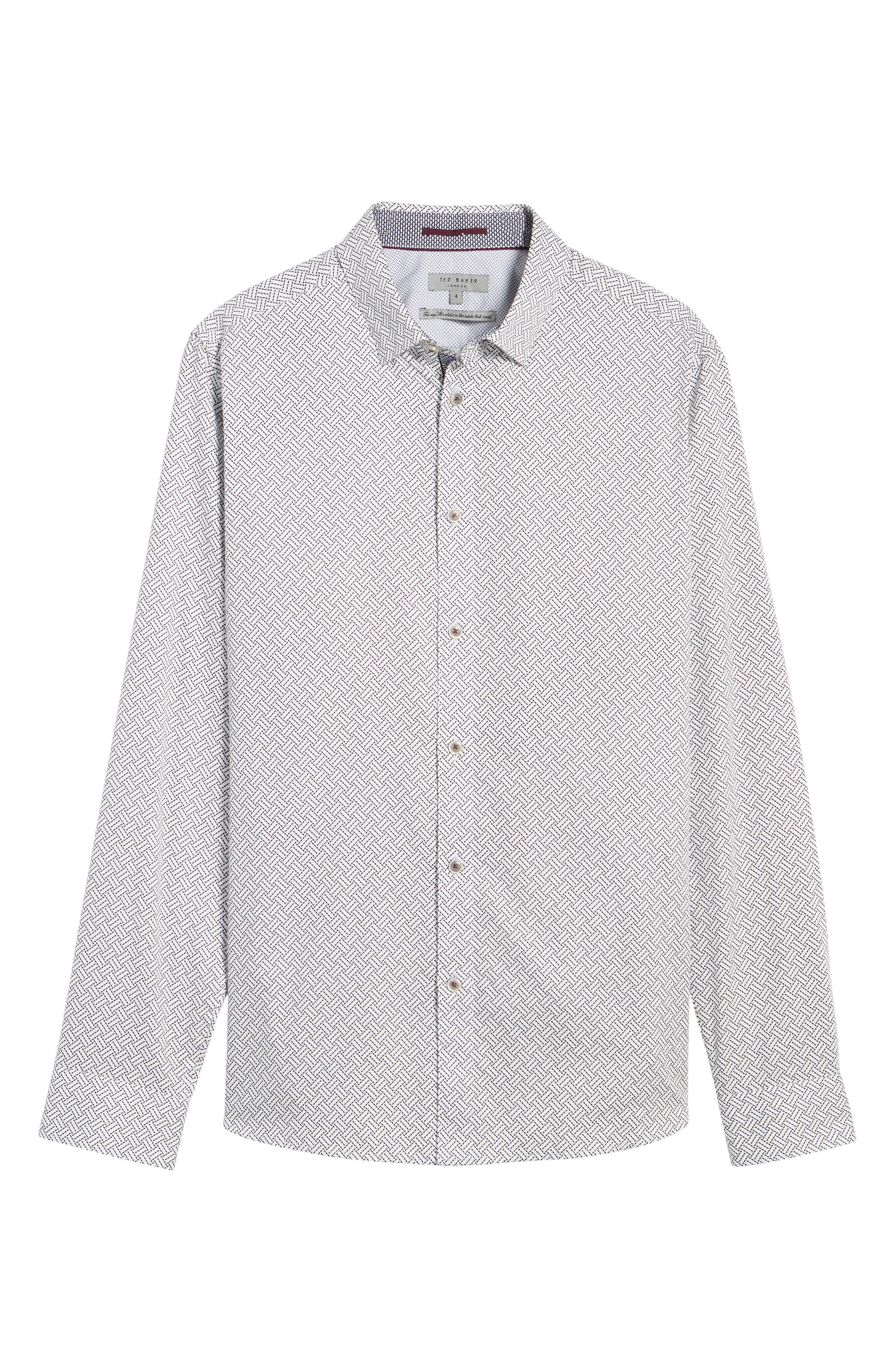 Larosh Slim Fit Basket Weave Print Sport Shirt,                             Alternate thumbnail 6, color,                             110