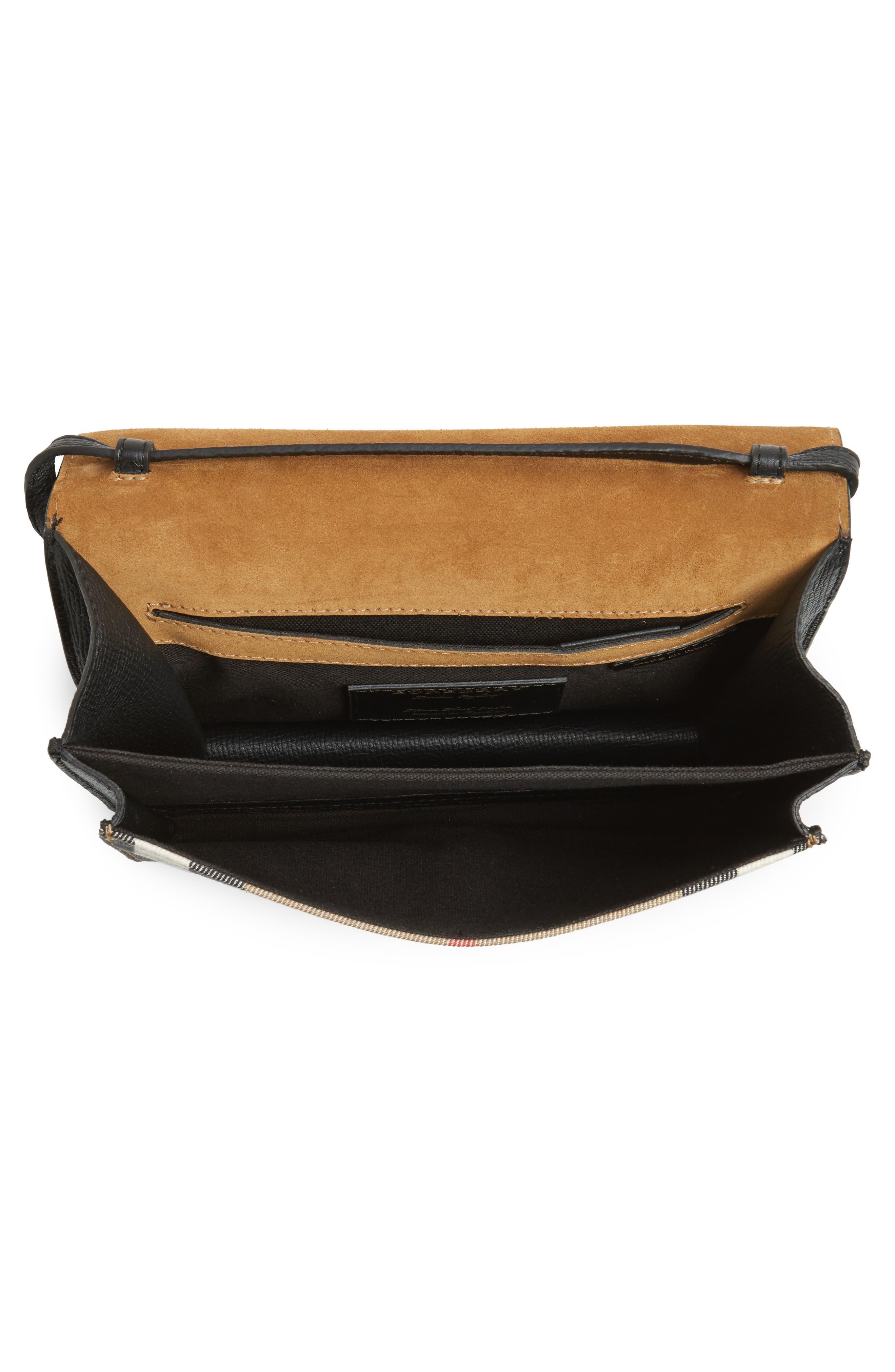 'Small Macken' Check Crossbody Bag,                             Alternate thumbnail 4, color,                             BLACK