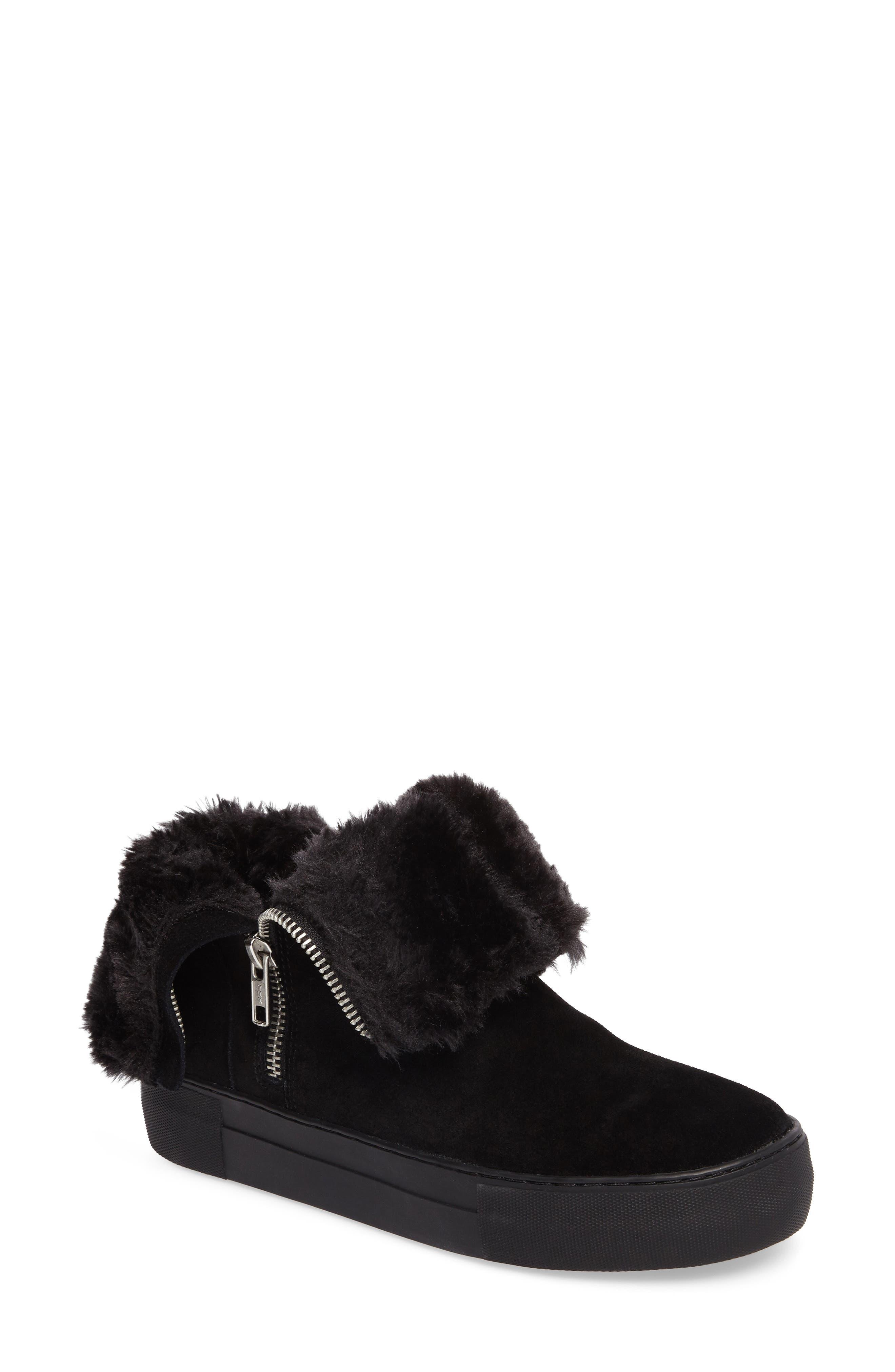 d70ef00b130e Jslides Allie Faux Fur Lined Platform Boot In Black Suede