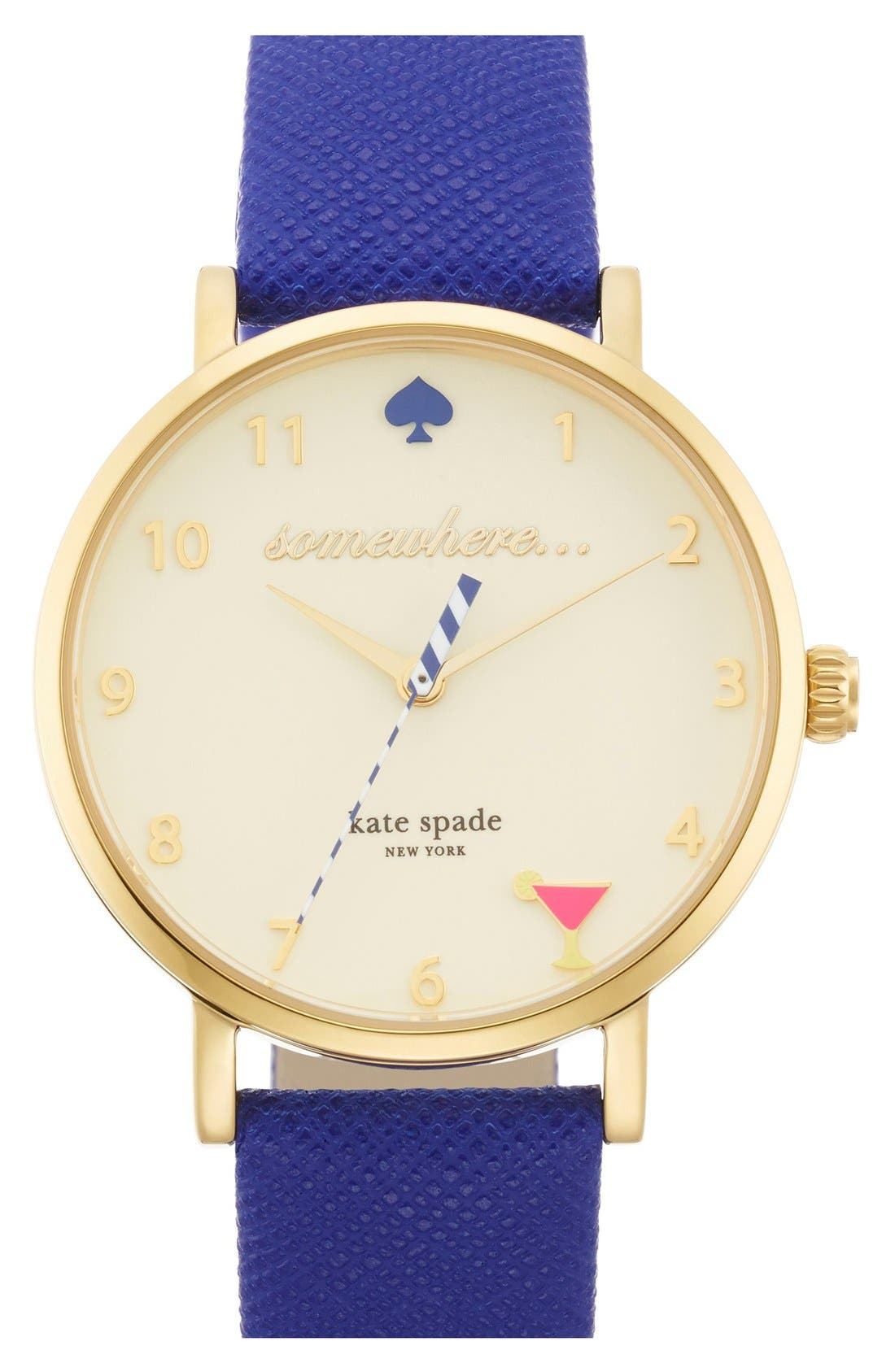 'metro - happy hour' leather strap watch, 34mm, Main, color, 400