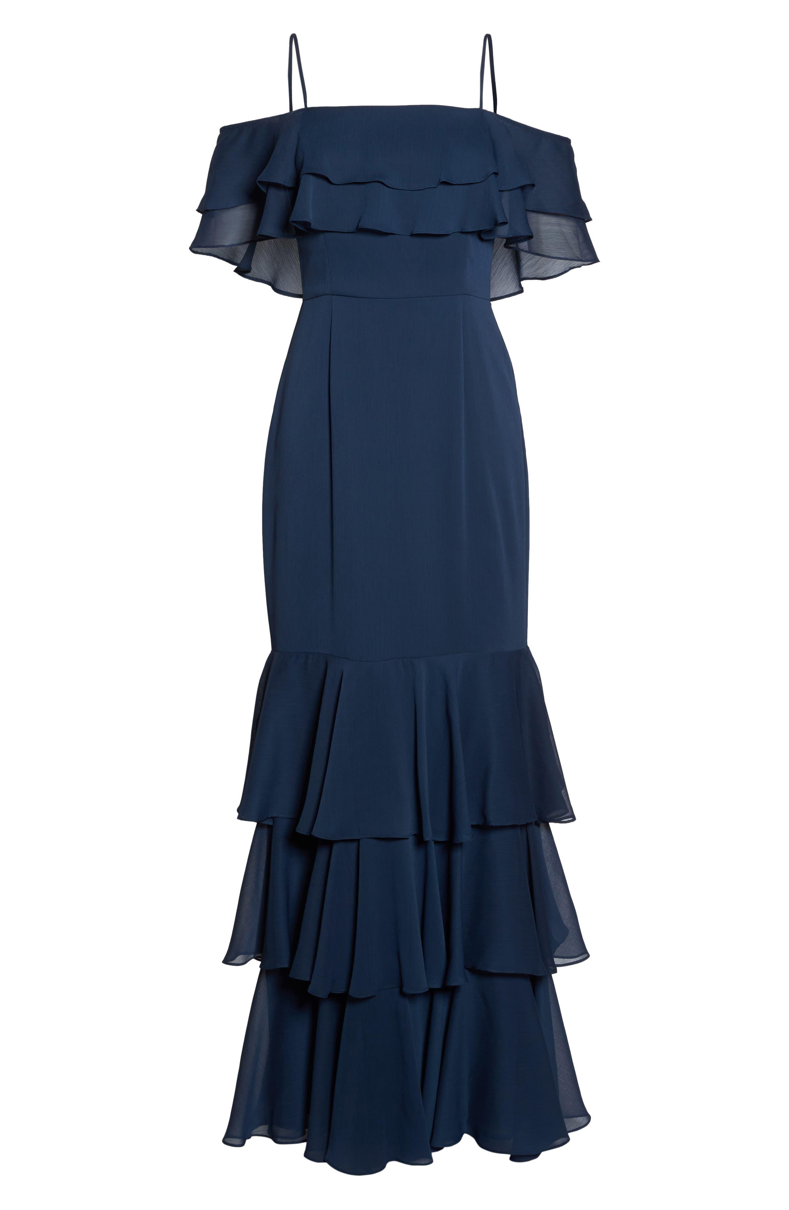 Lauren Cold Shoulder Tiered Gown,                             Alternate thumbnail 18, color,
