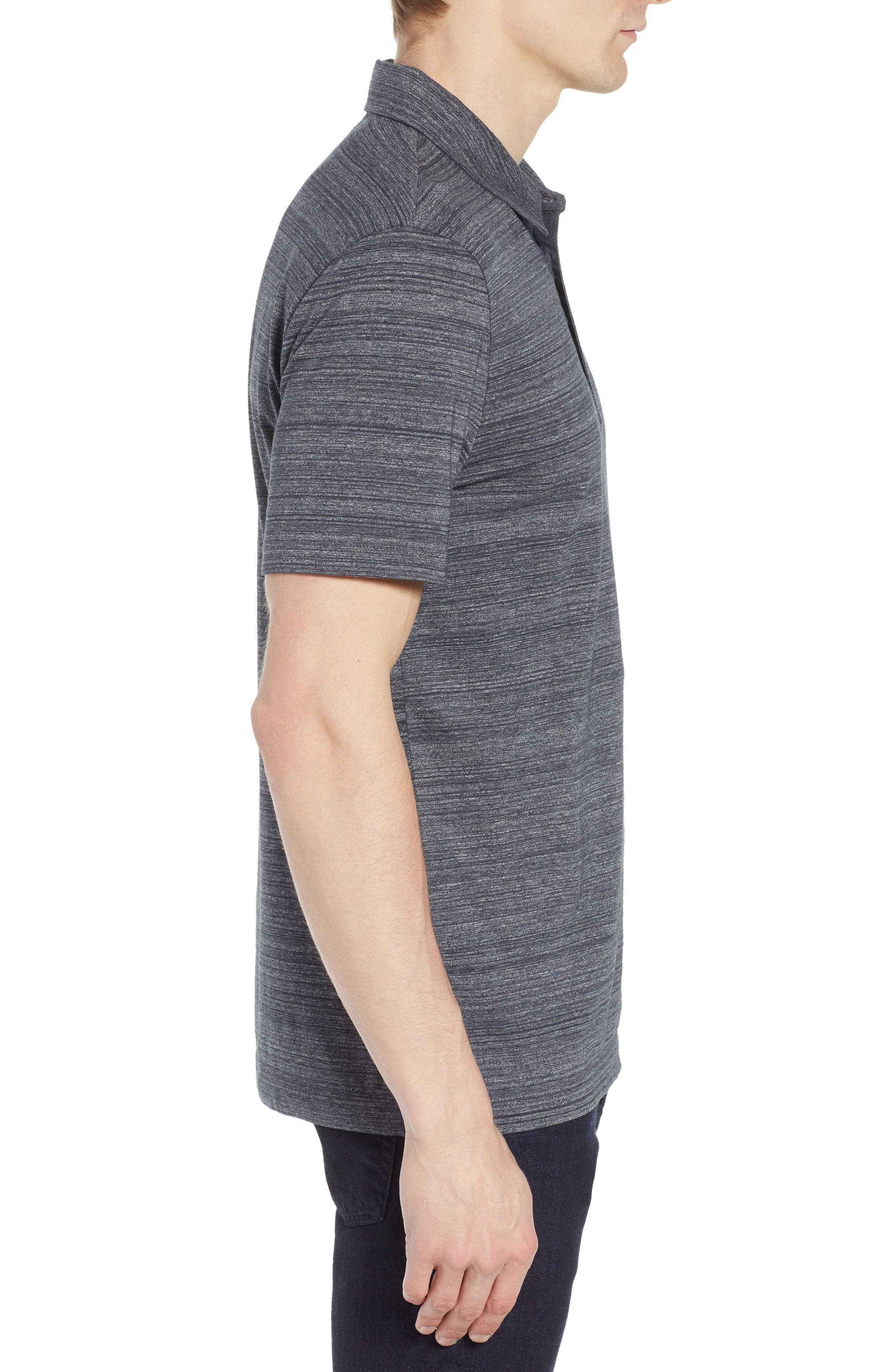 Place Slim Fit Space Dyed Polo,                             Alternate thumbnail 3, color,                             DARK GREY