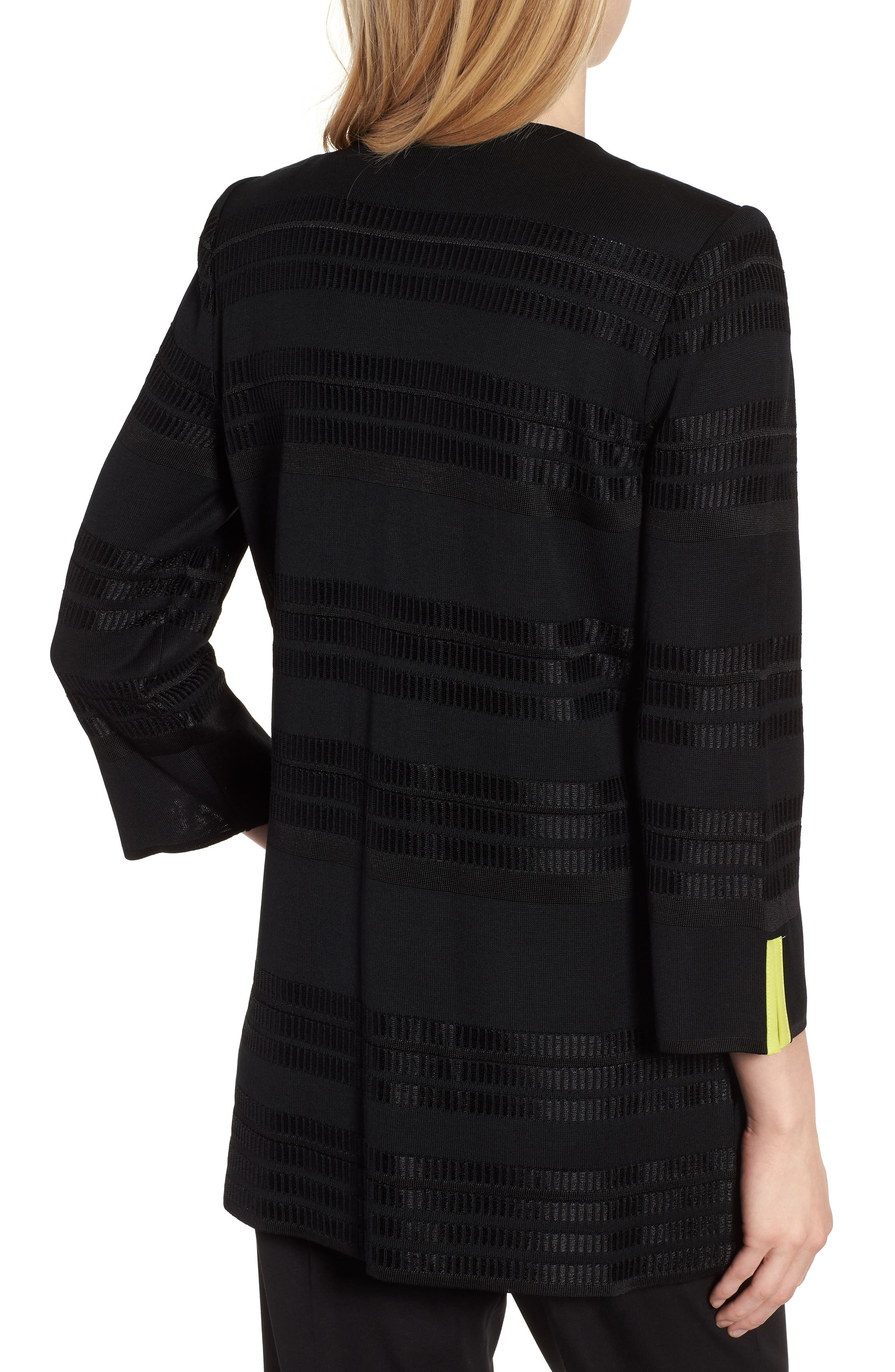 Long Jacquard Knit Jacket,                             Alternate thumbnail 2, color,                             BLACK/ PEAR/ WHITE