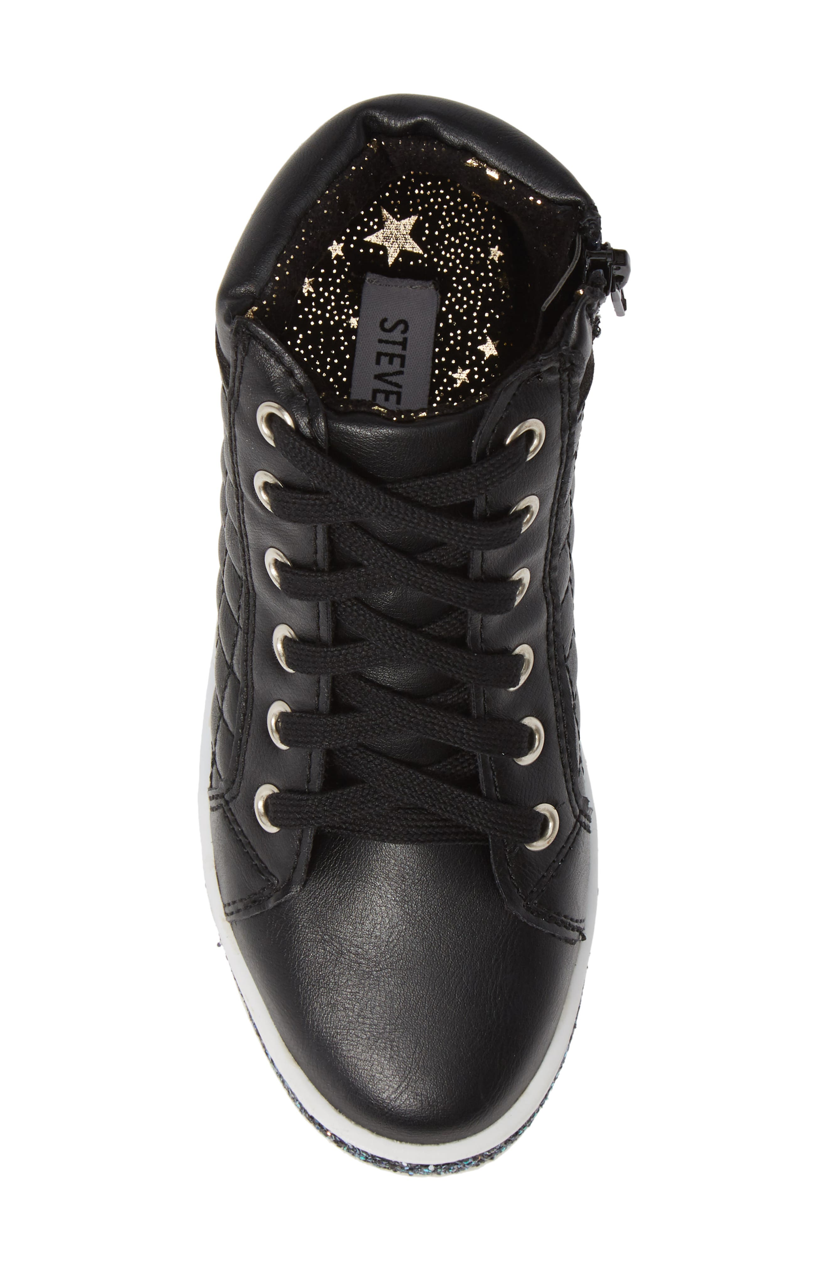 Glittery High Top Sneaker,                             Alternate thumbnail 5, color,                             BLACK
