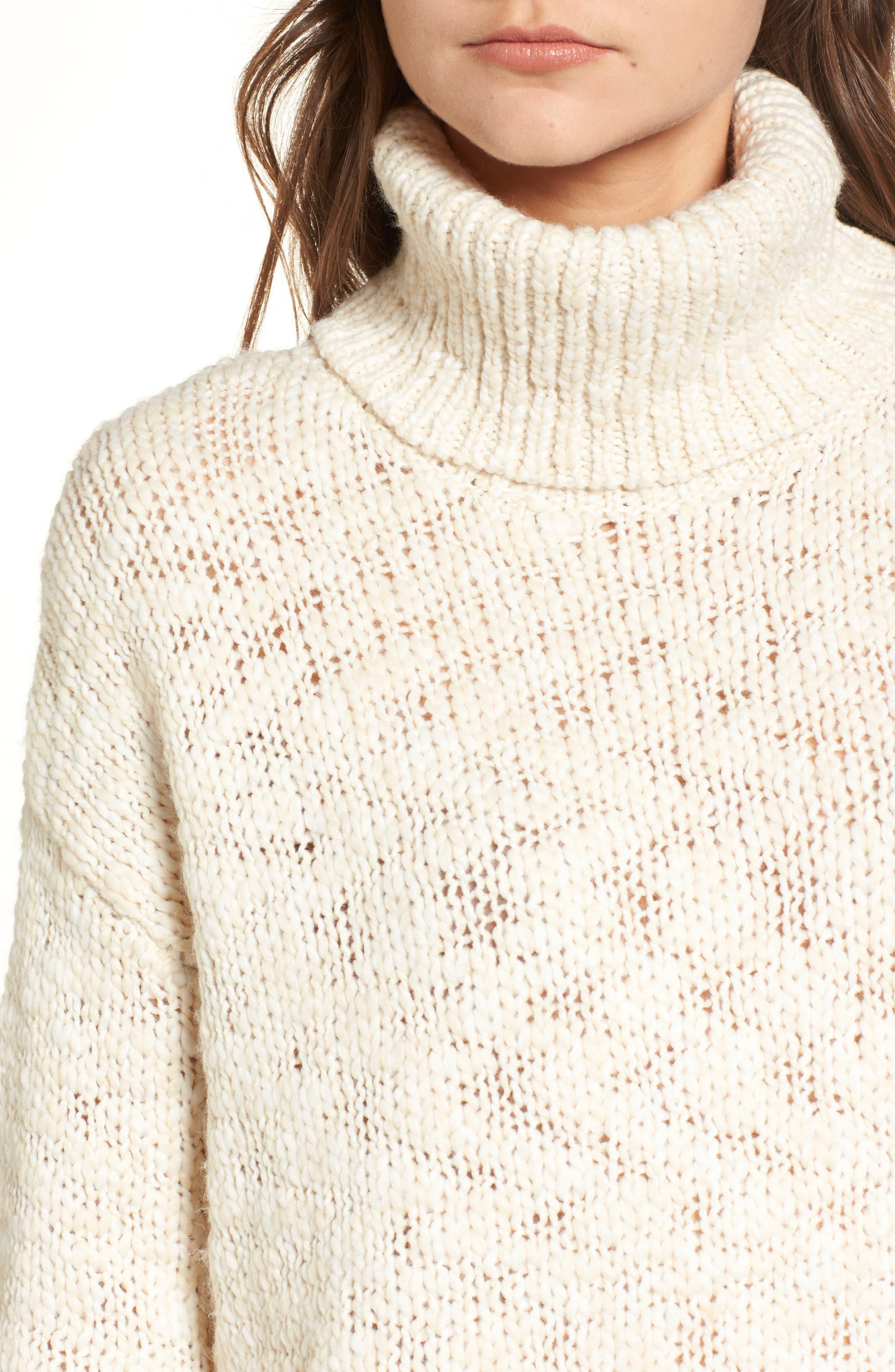 Treasure&Bond Turtleneck Sweater,                             Alternate thumbnail 4, color,                             BEIGE BEACH COMBO