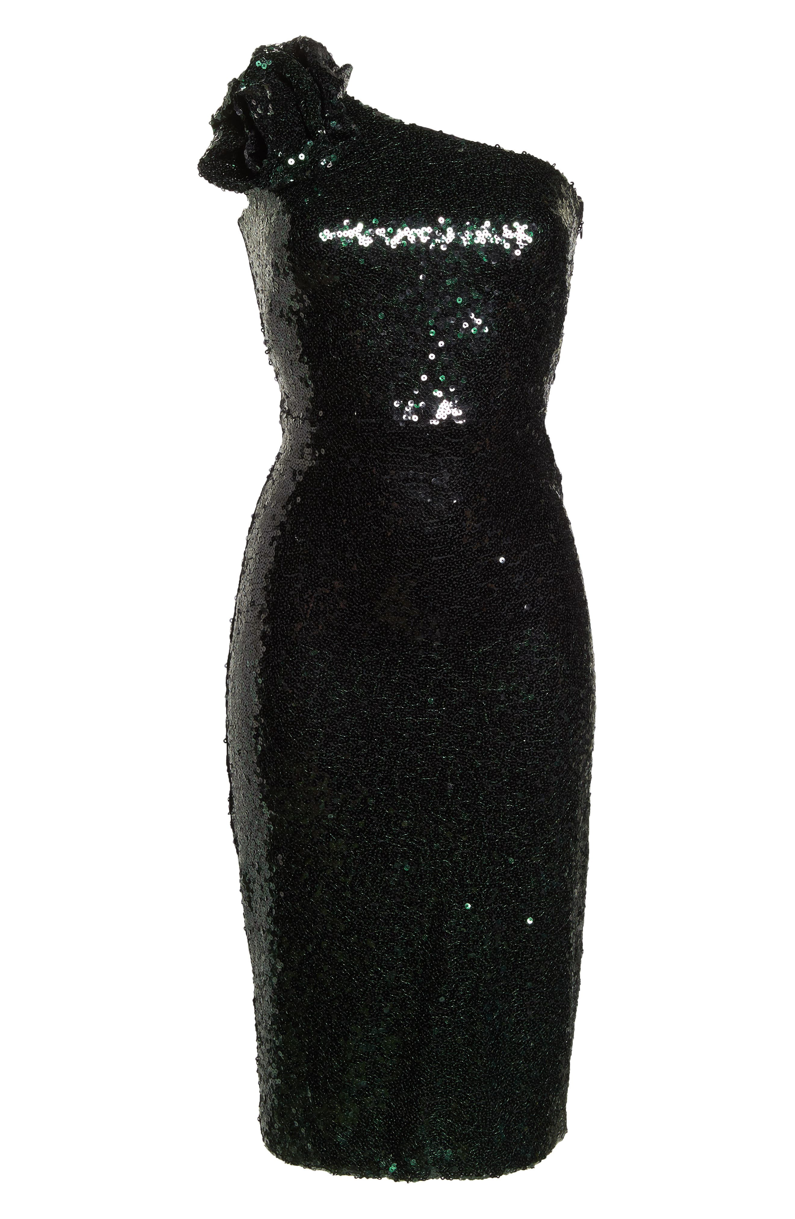 One-Shoulder Midi Dress,                             Alternate thumbnail 7, color,                             HUNTER