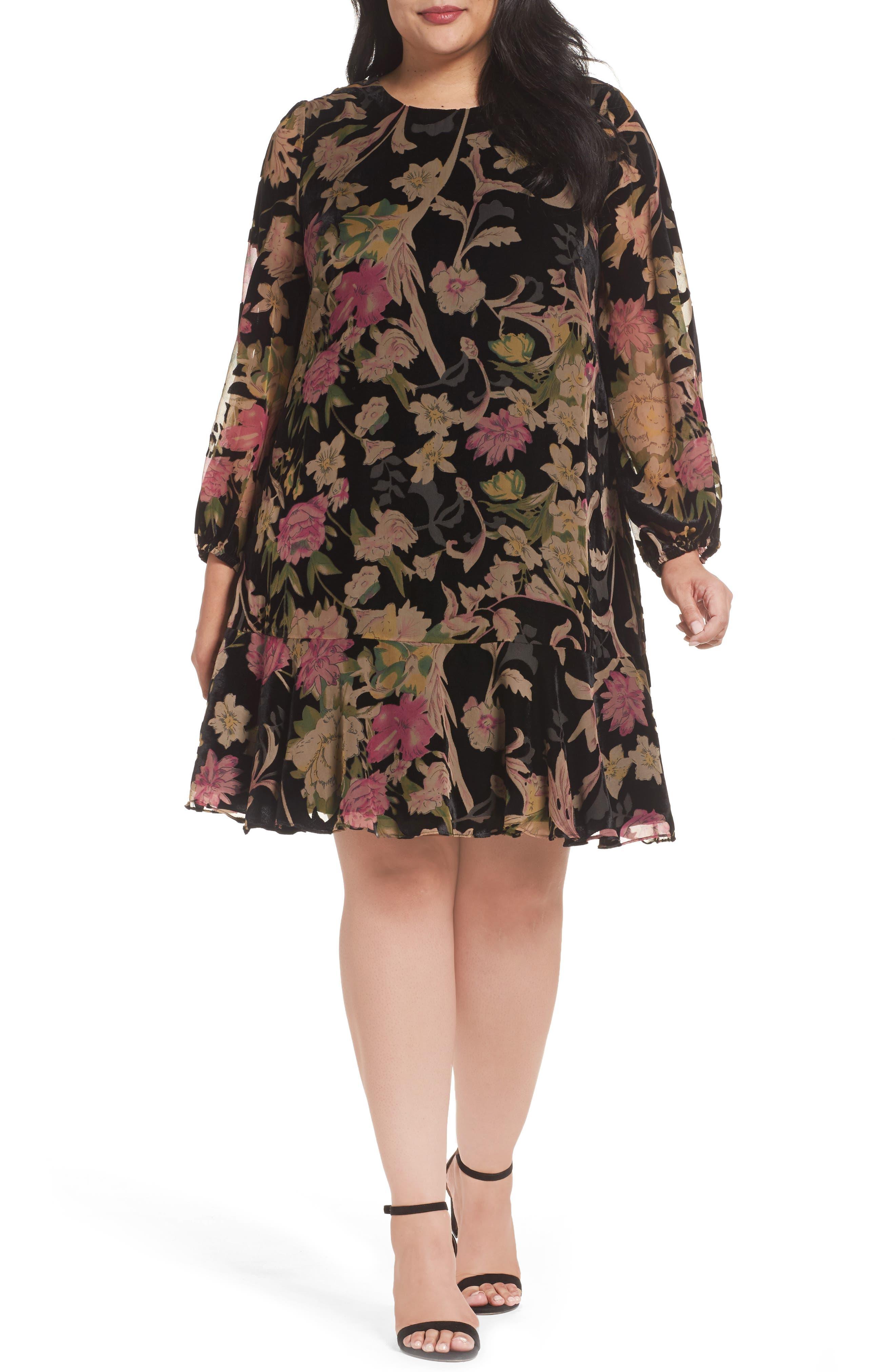 Plus Size Eliza J Floral Burnout Velvet Shift Dress, Black