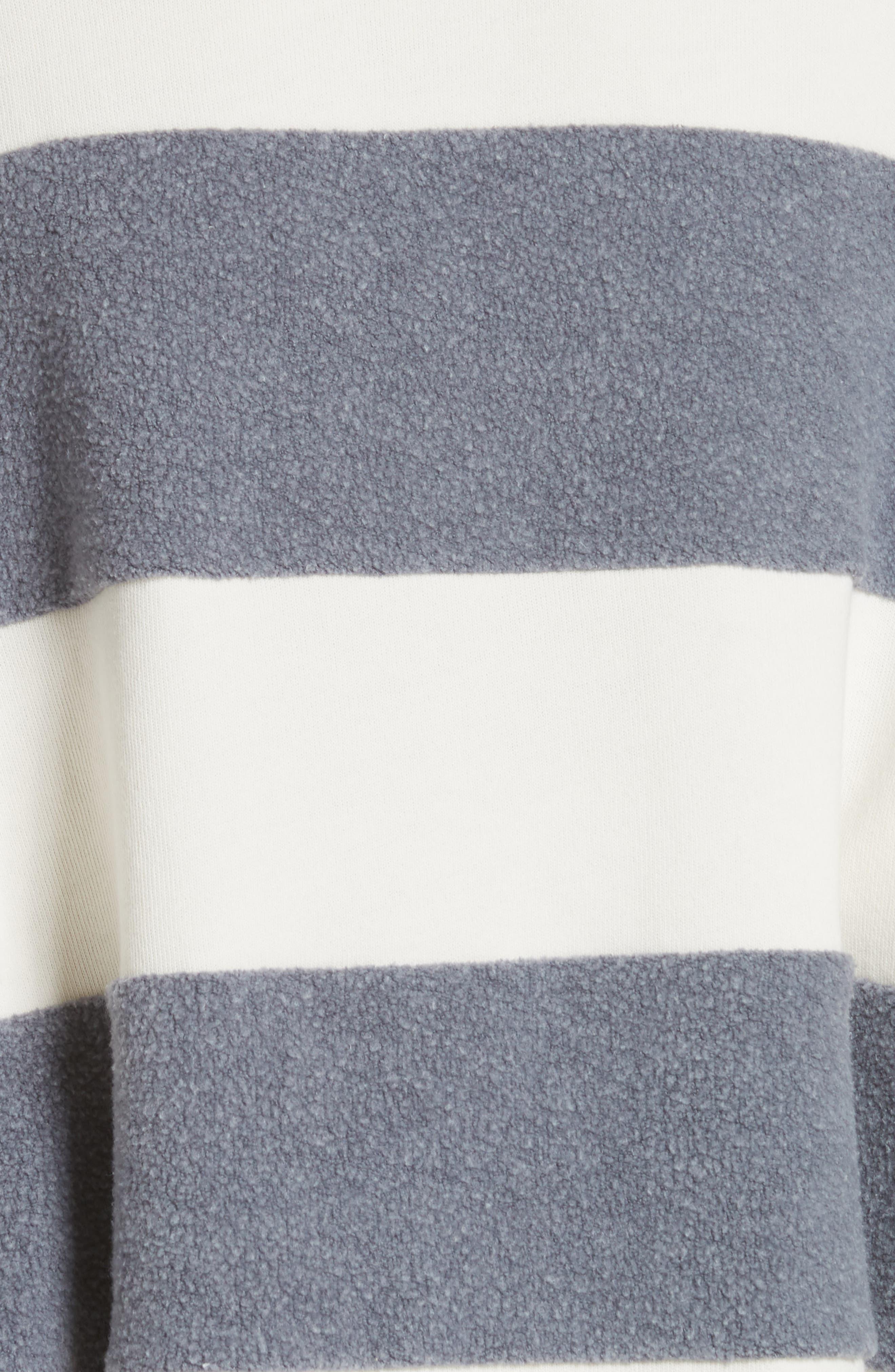 Fleece Stripe Slouch Sweatshirt,                             Alternate thumbnail 5, color,                             ENGINE BLUE AND CREAM