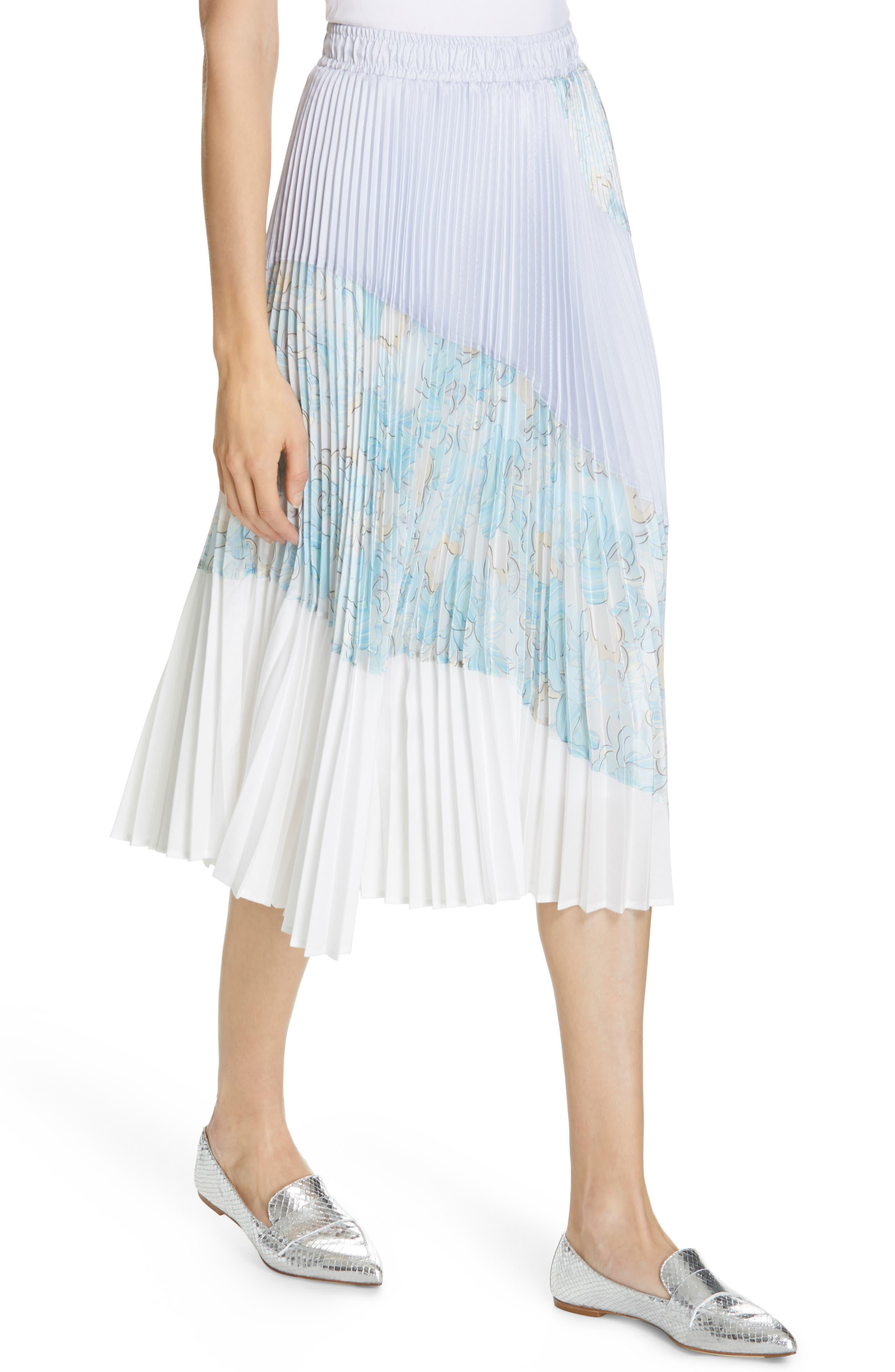 Floral Colorblock Pleated Skirt,                             Alternate thumbnail 4, color,                             BLUE