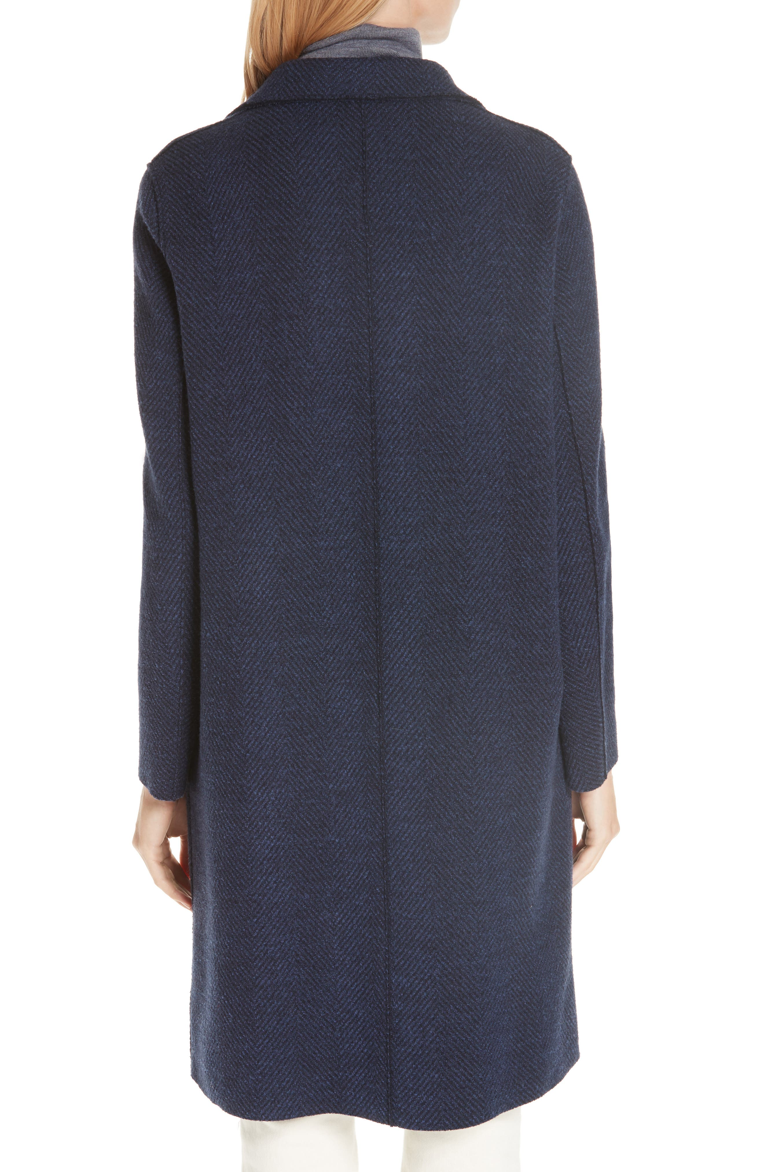 Herringbone Wool Coat,                             Alternate thumbnail 2, color,                             NAVY BLUE