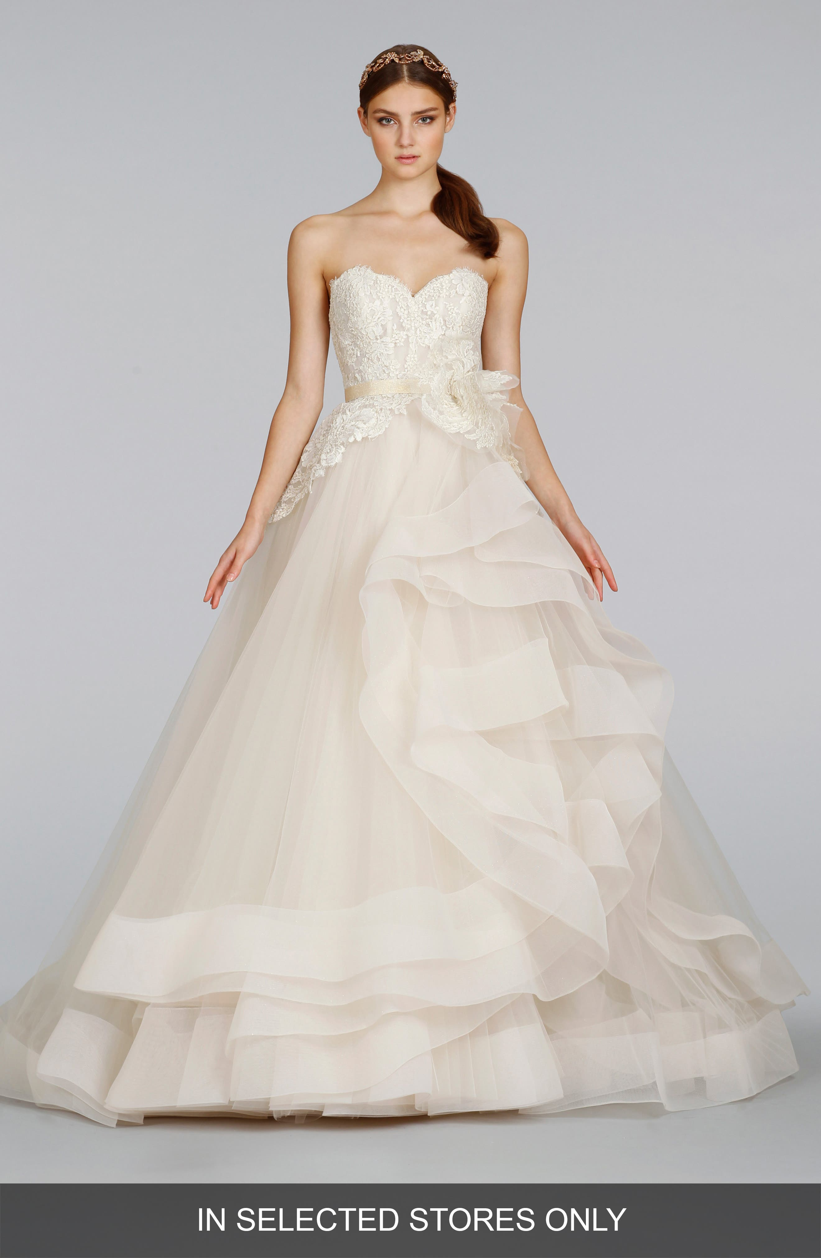 Strapless Lace & Layered Tulle Ballgown,                             Alternate thumbnail 4, color,                             IVORY/GOLD/CHAMPAGNE