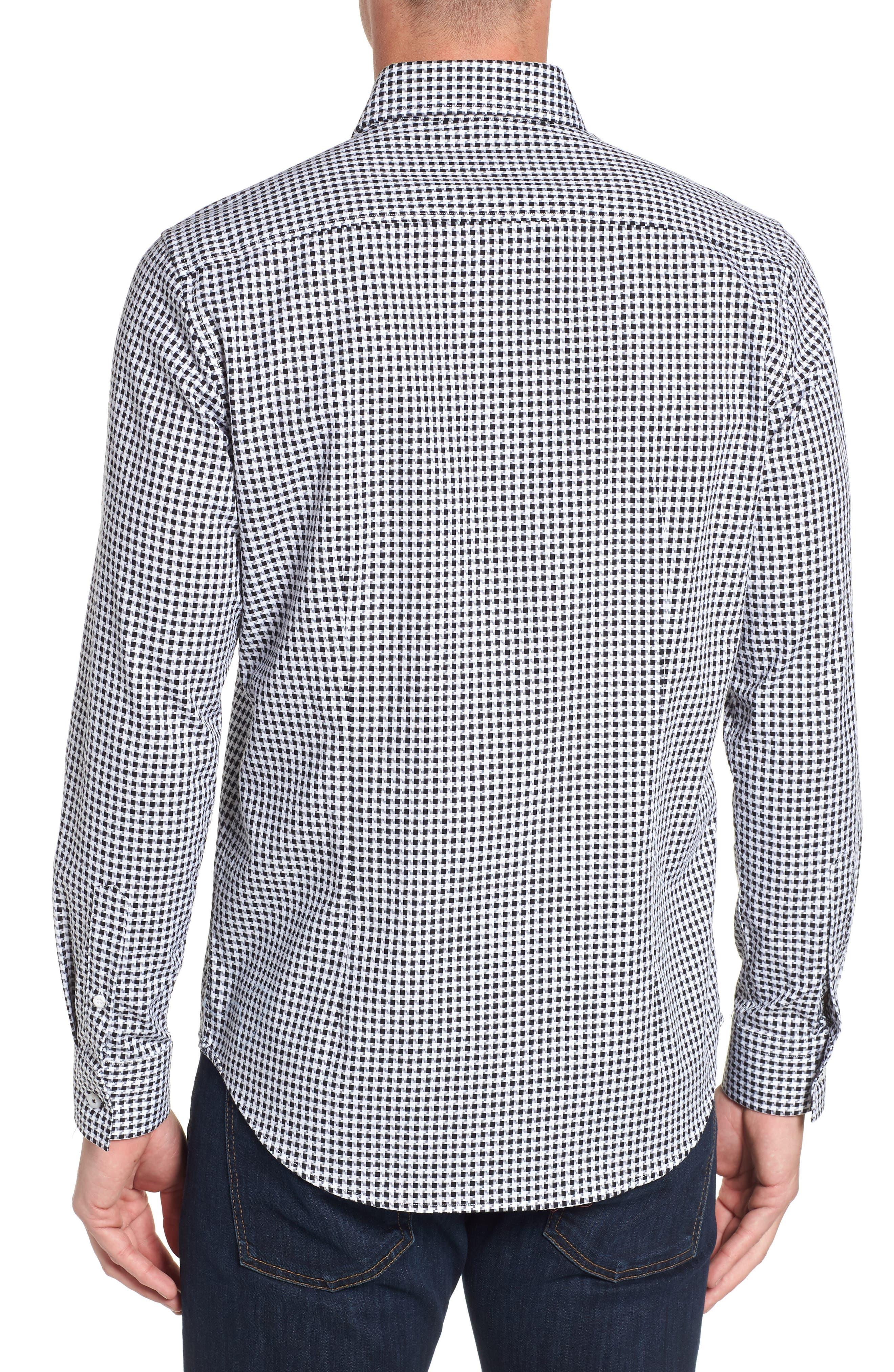 Emmett Tailored Fit Sport Shirt,                             Alternate thumbnail 3, color,                             BLACK