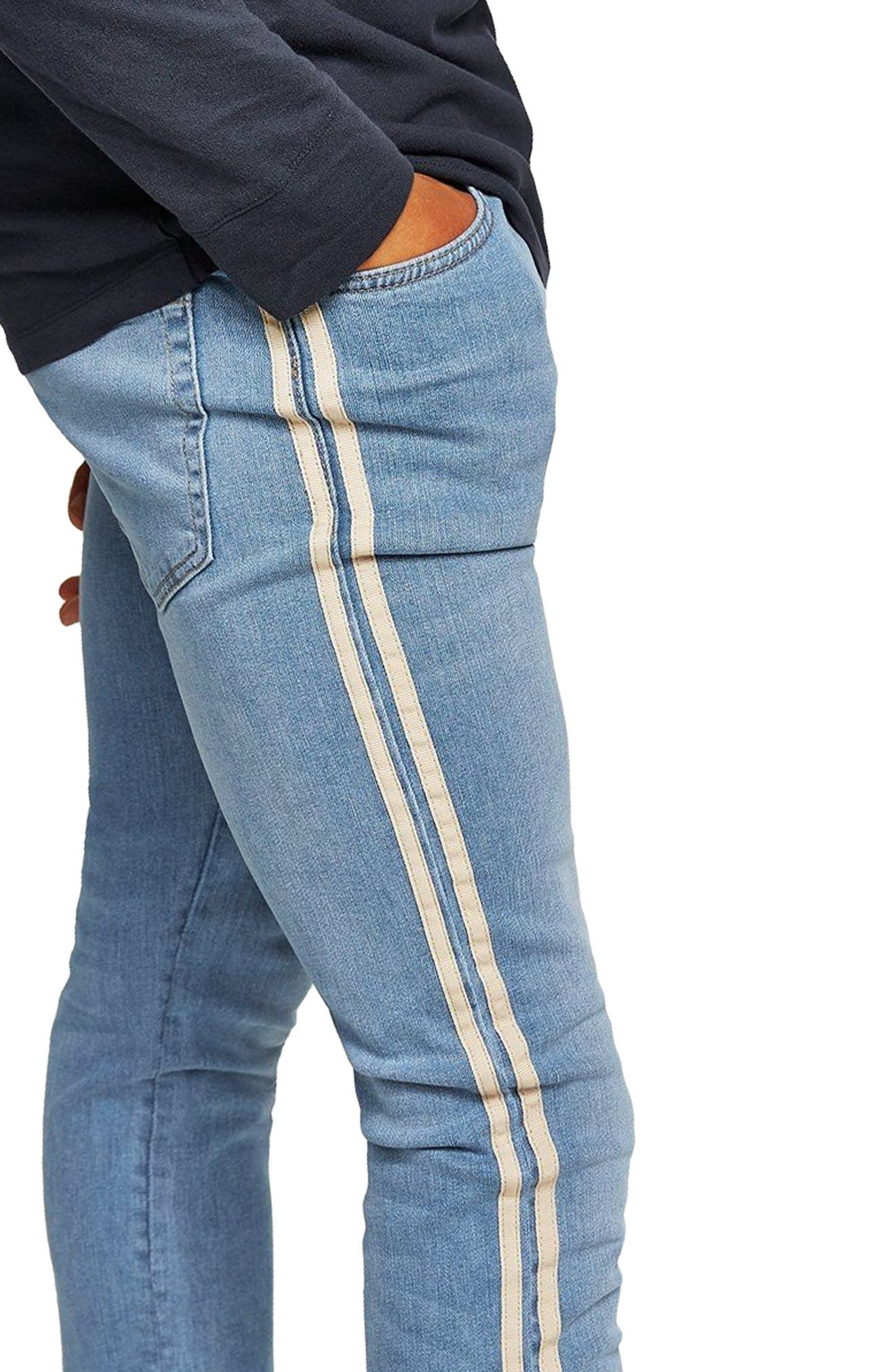 Tape Stretch Skinny Fit Jeans,                             Alternate thumbnail 4, color,                             BLUE