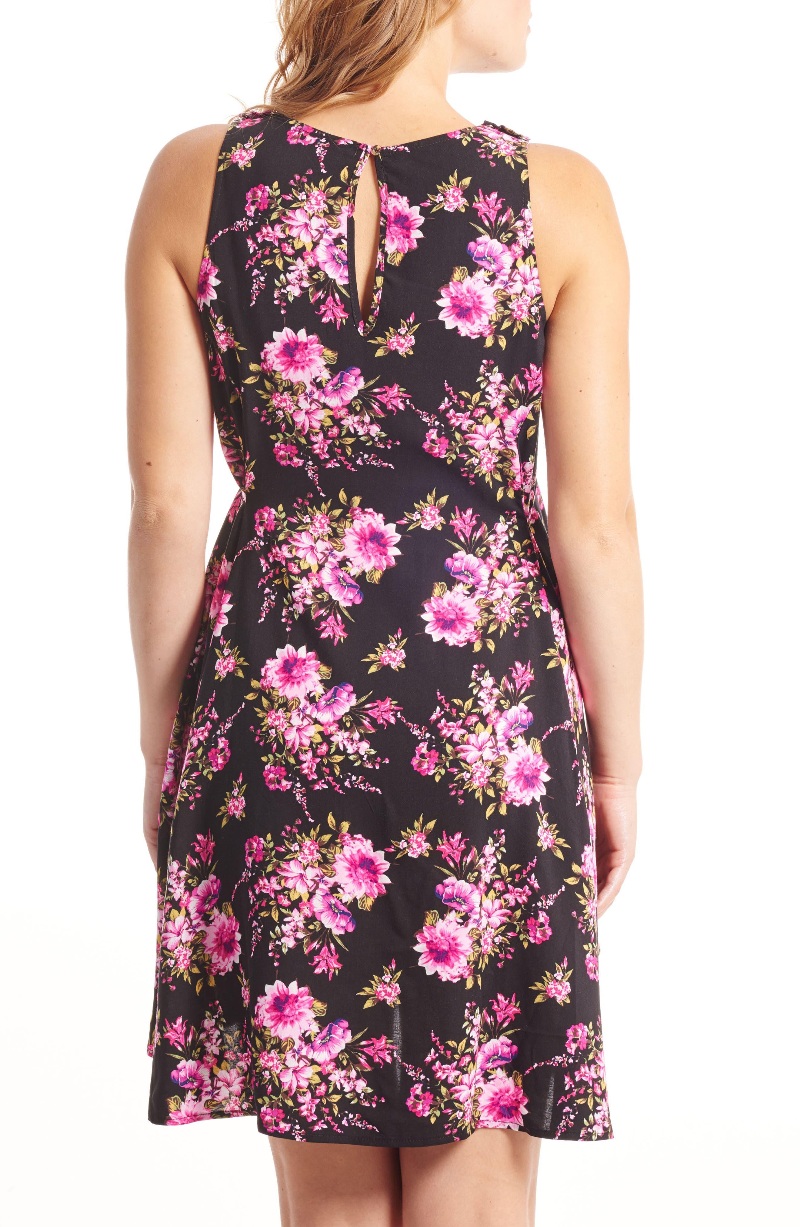 Crystal Maternity/Nursing High/Low Dress,                             Alternate thumbnail 2, color,                             BLACK FLORAL