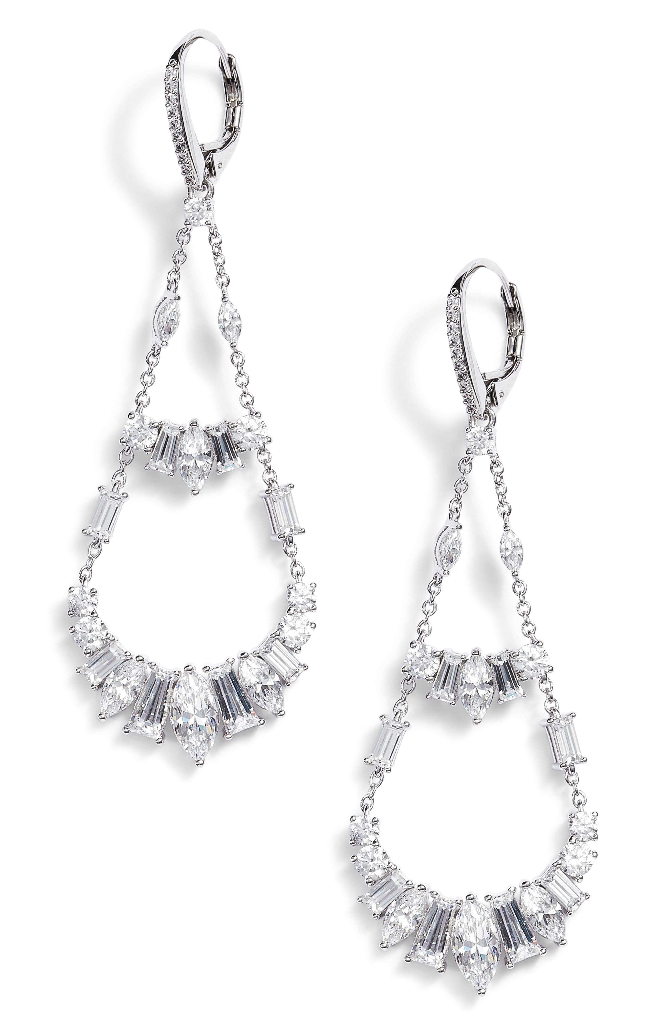 Fanfare Chandelier Earrings,                         Main,                         color, SILVER