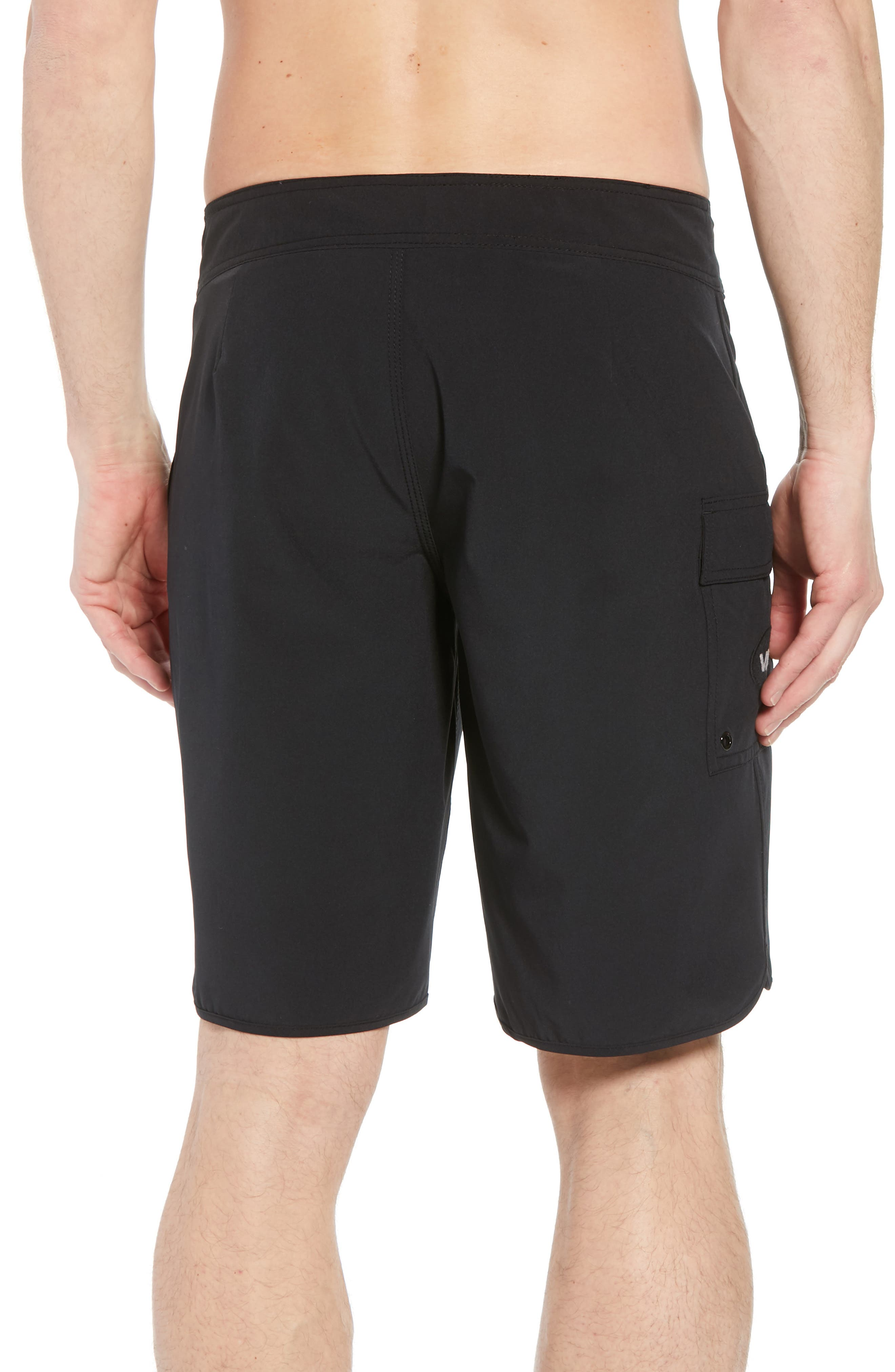 'Eastern' Scalloped Hem Board Shorts,                             Alternate thumbnail 2, color,                             ALL BLACK