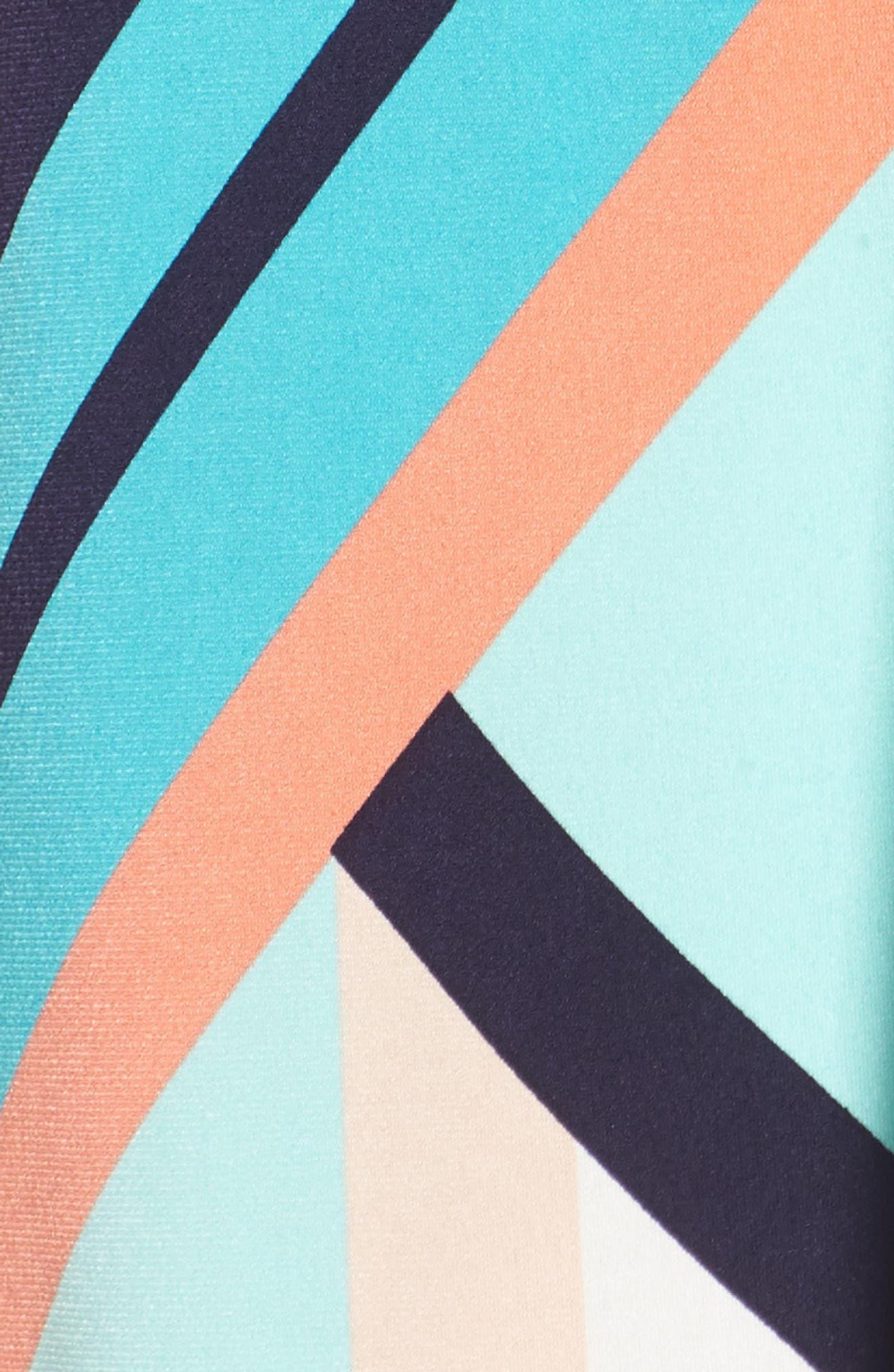 Belted Geo Print Midi Dress,                             Alternate thumbnail 5, color,
