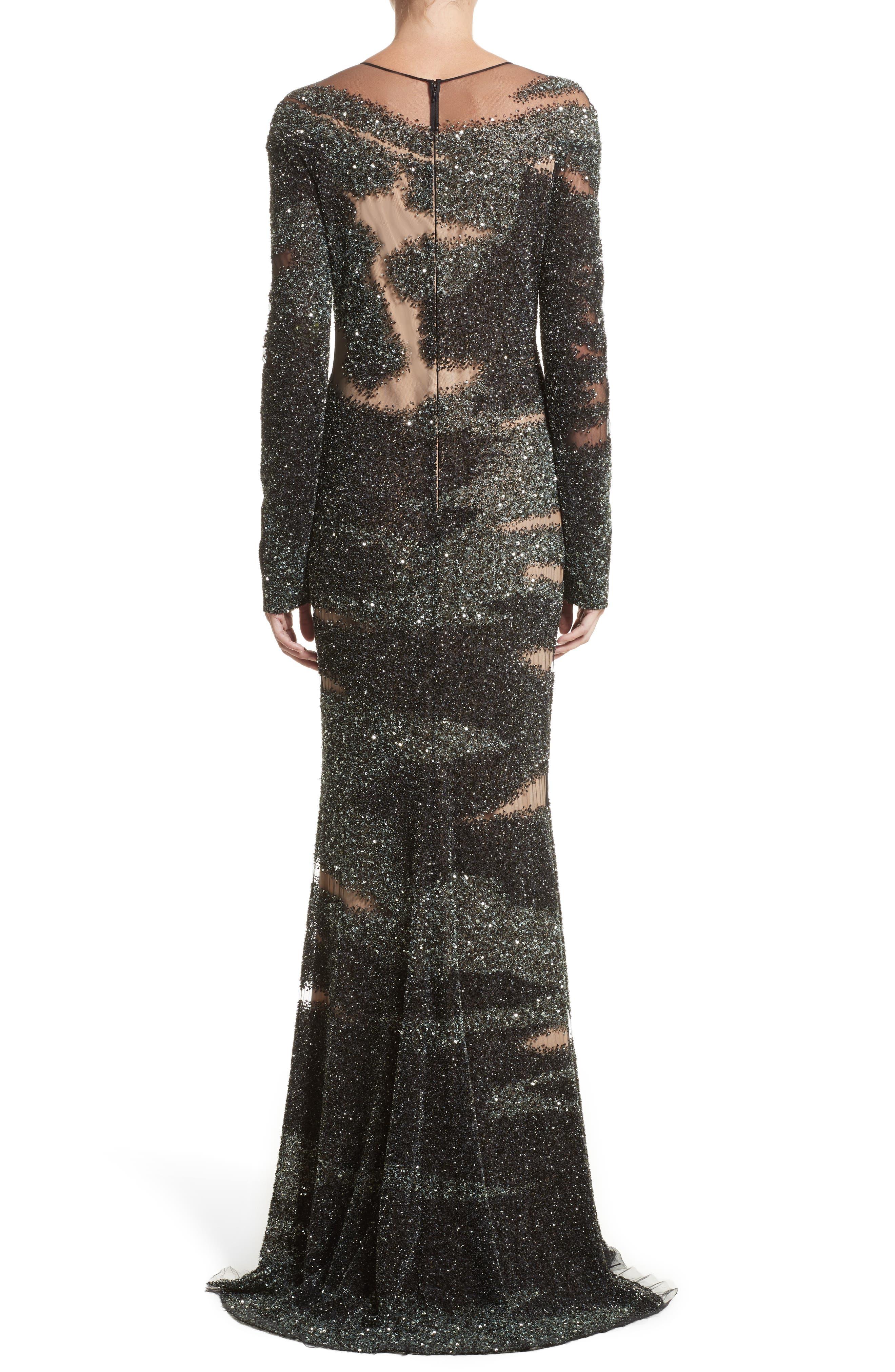 Brushstroke Sequin Long Sleeve Gown,                             Alternate thumbnail 2, color,                             349
