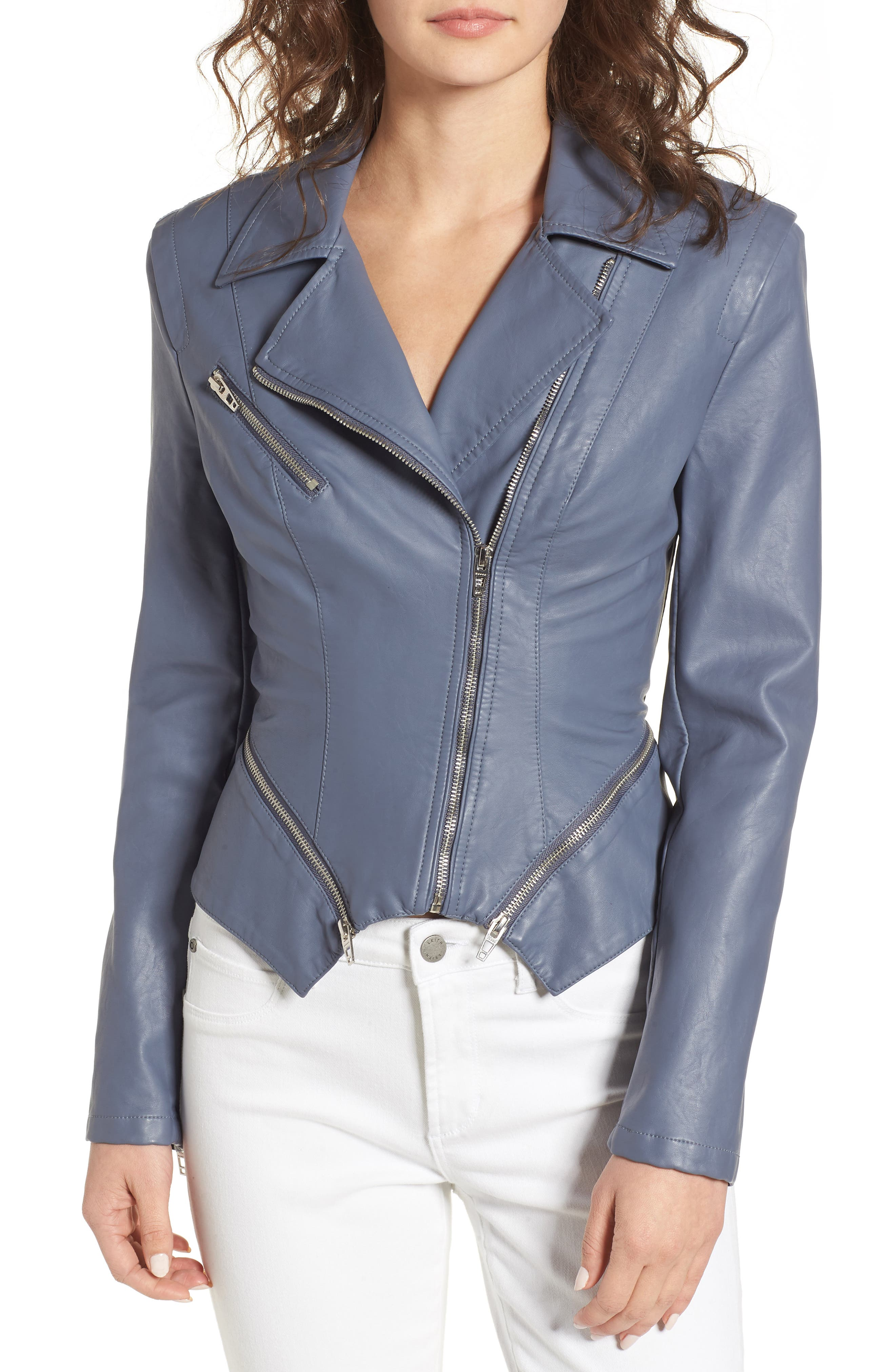 Faux Leather Moto Jacket,                             Alternate thumbnail 4, color,                             GREY GRISAILLE