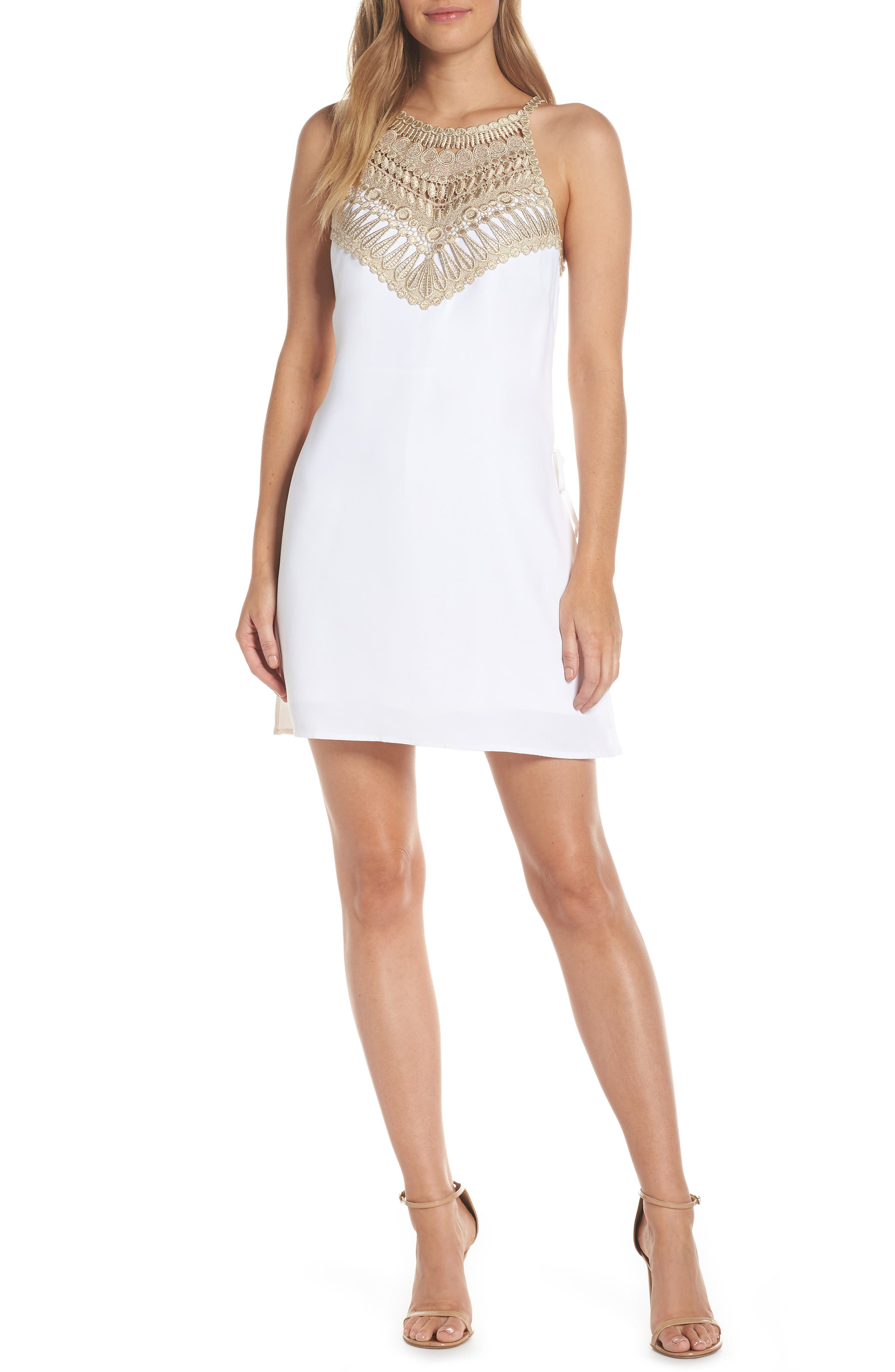 LILLY PULITZER<SUP>®</SUP>,                             Pearl Romper Dress,                             Main thumbnail 1, color,                             RESORT WHITE