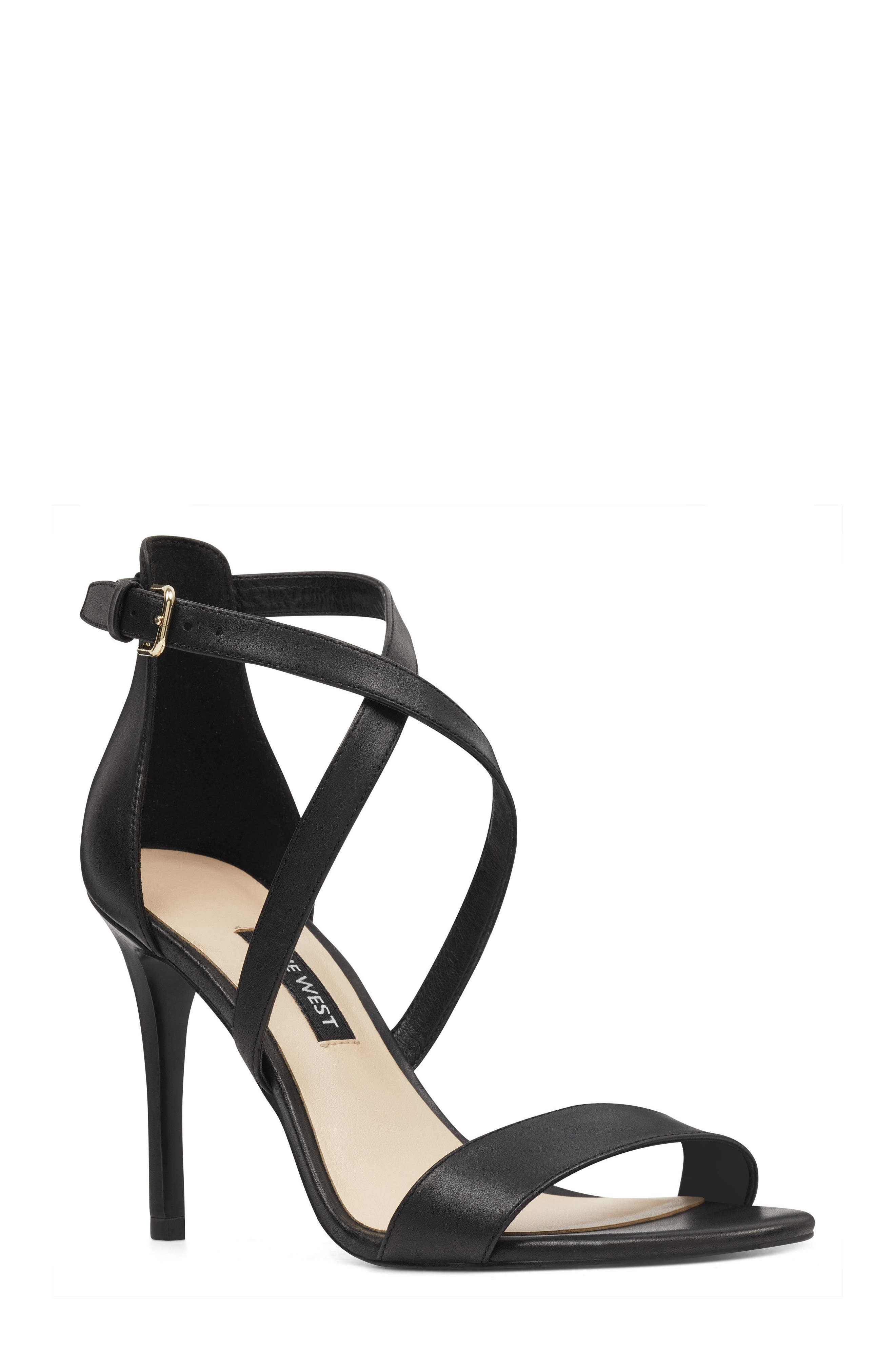 Mydebut Strappy Sandal,                             Main thumbnail 1, color,                             BLACK LEATHER
