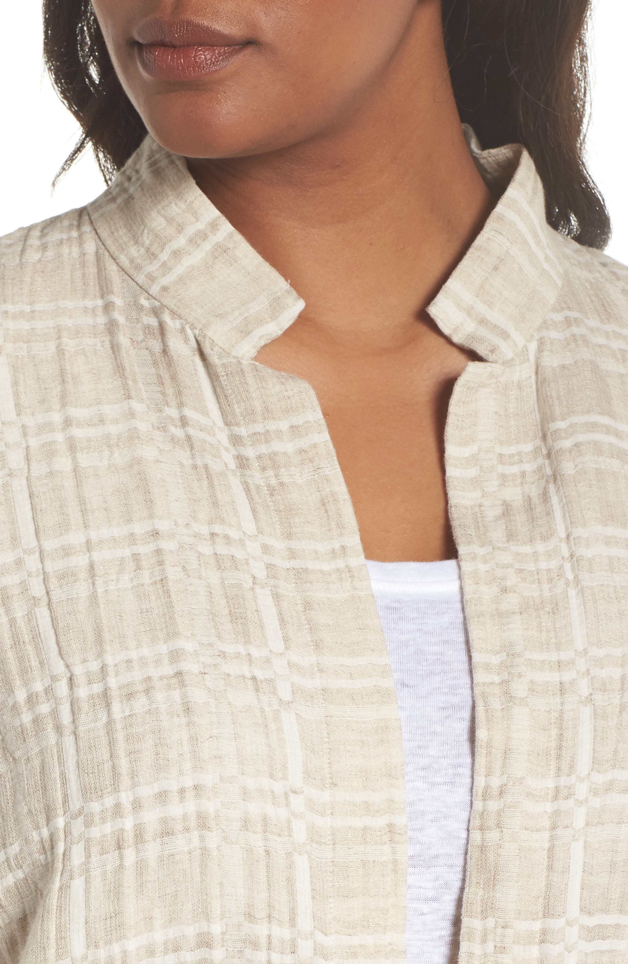 Check Organic Cotton & Linen Jacket,                             Alternate thumbnail 4, color,                             257