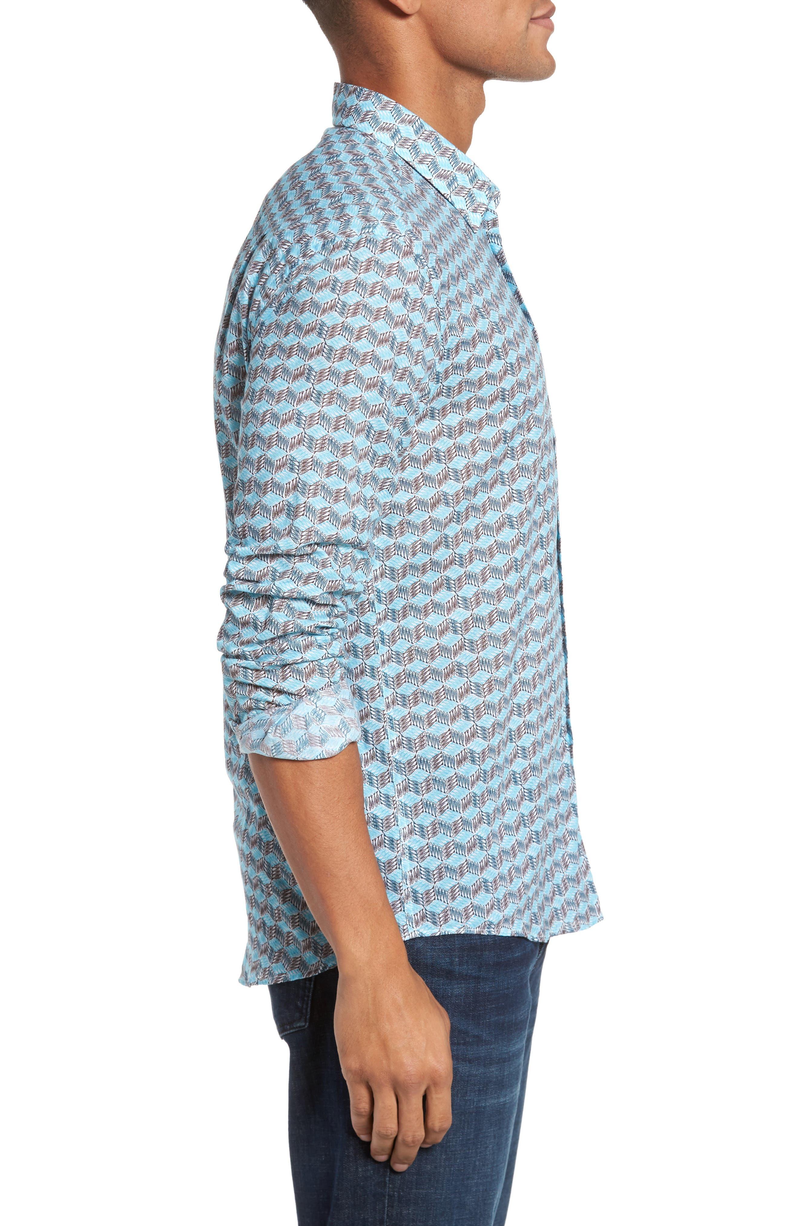 Cubed Fish Cotton Voile Sport Shirt,                             Alternate thumbnail 3, color,                             AZURE