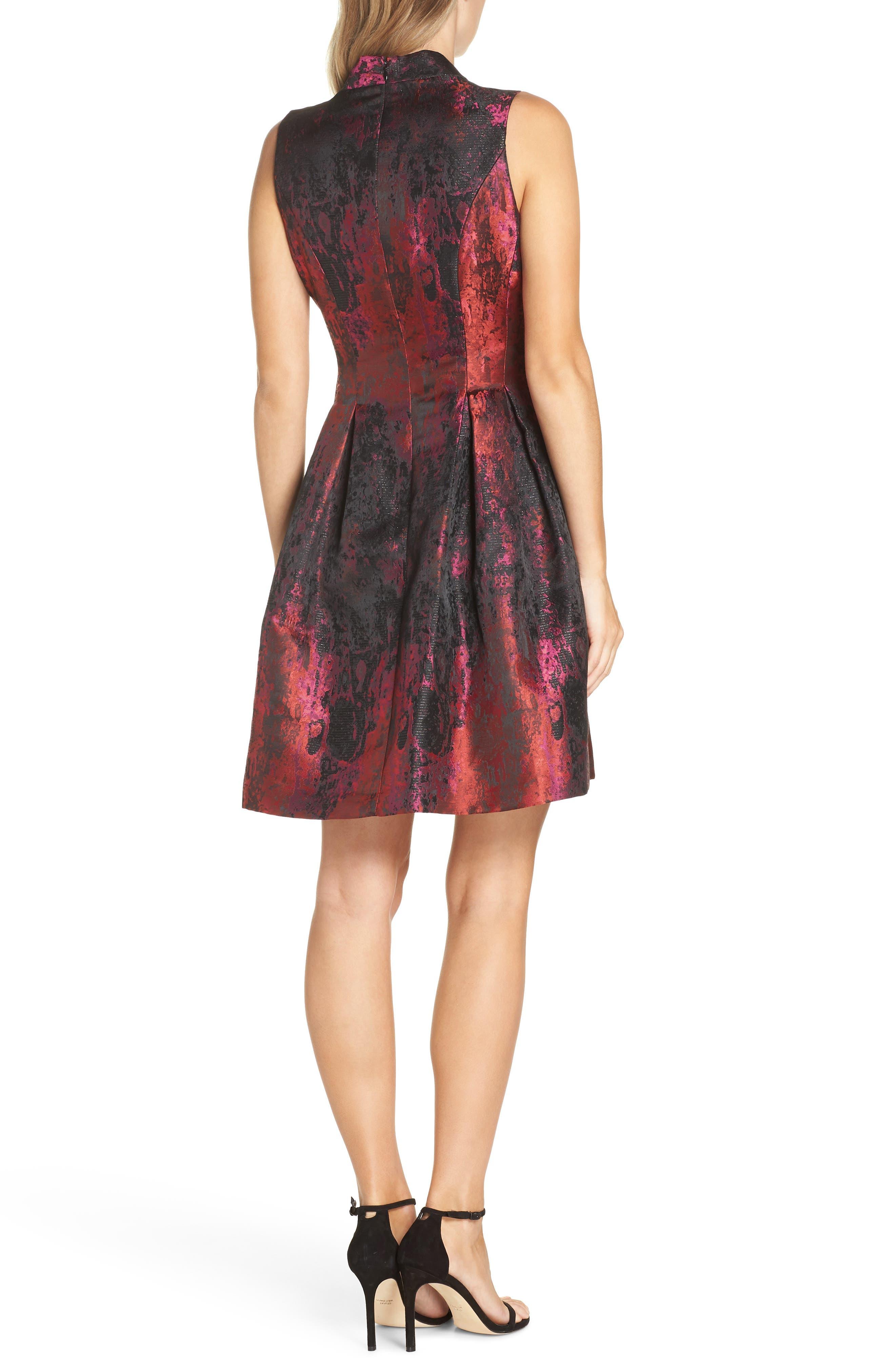 Jacquard Fit & Flare Dress,                             Alternate thumbnail 2, color,                             PINK MULTI