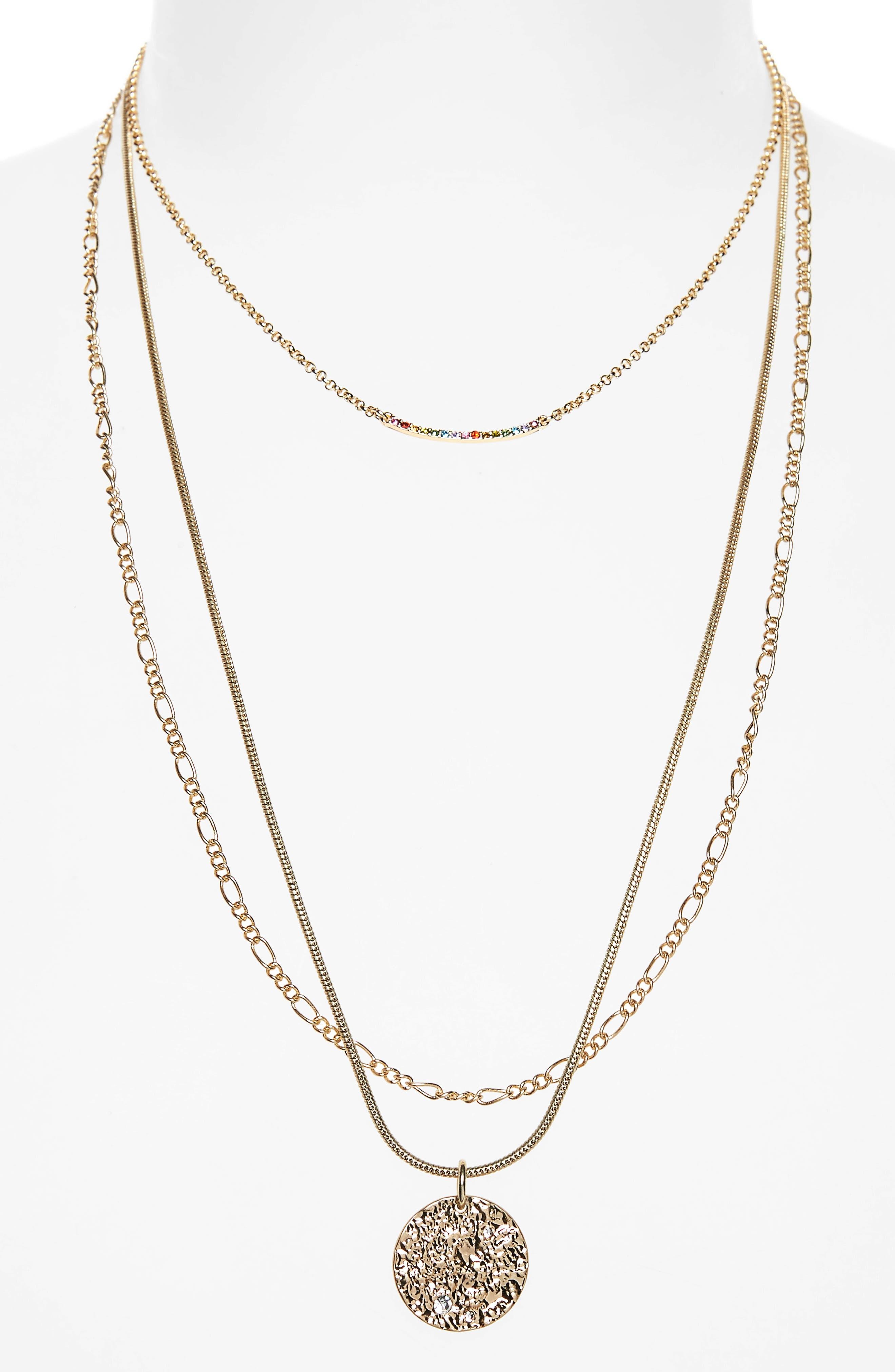 Multistrand Bar & Pendant Necklace,                             Alternate thumbnail 2, color,                             000