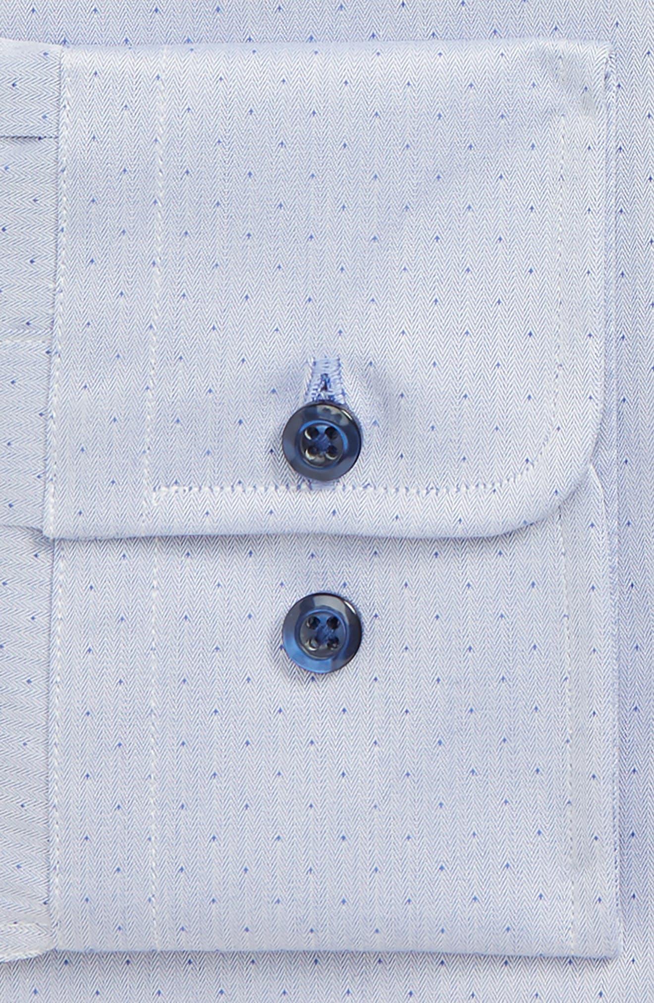 Herringbone Dot Slim Fit Dress Shirt,                             Alternate thumbnail 2, color,                             BLUE