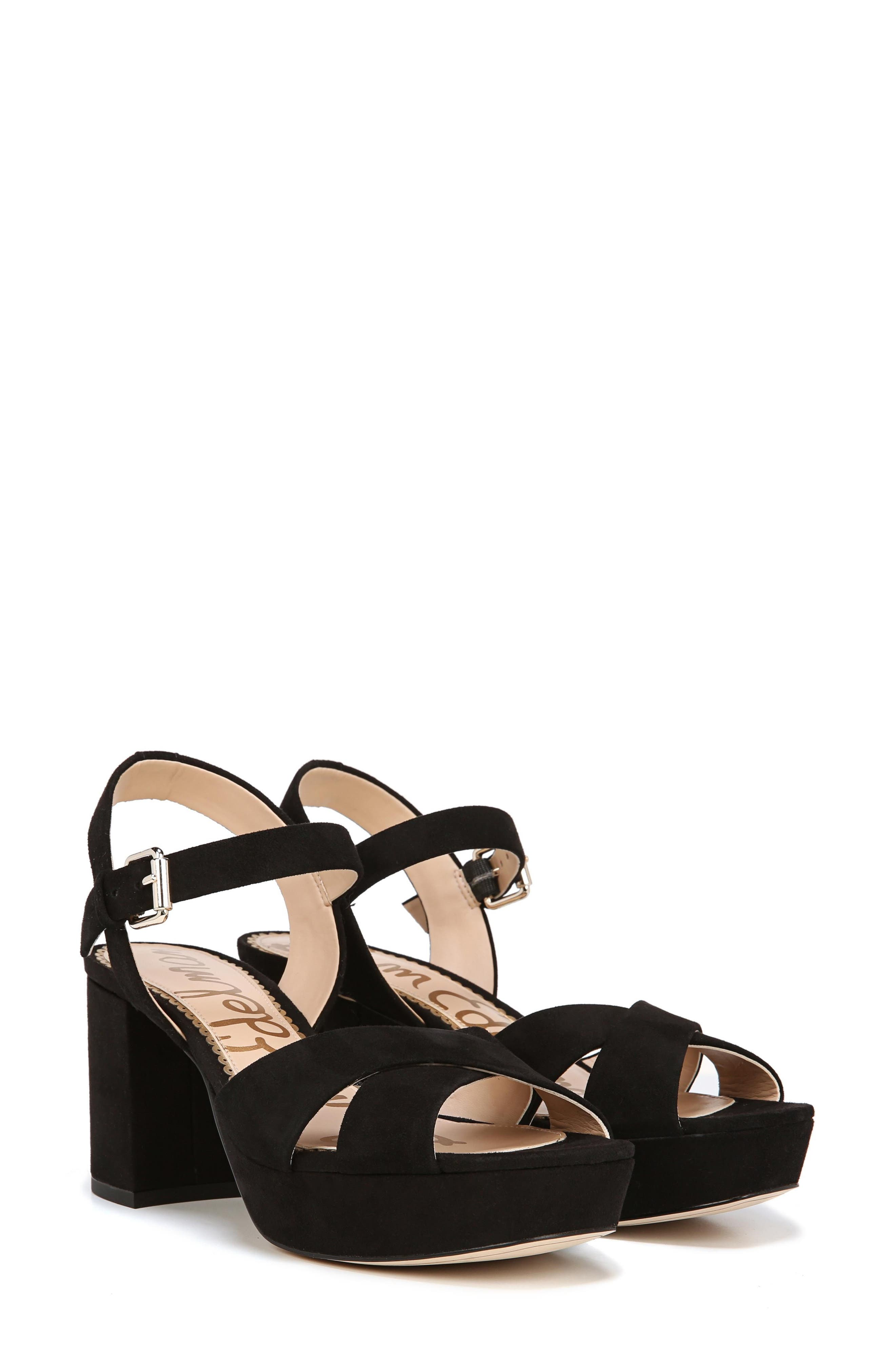 Jolene Platform Sandal,                             Alternate thumbnail 7, color,                             BLACK SUEDE