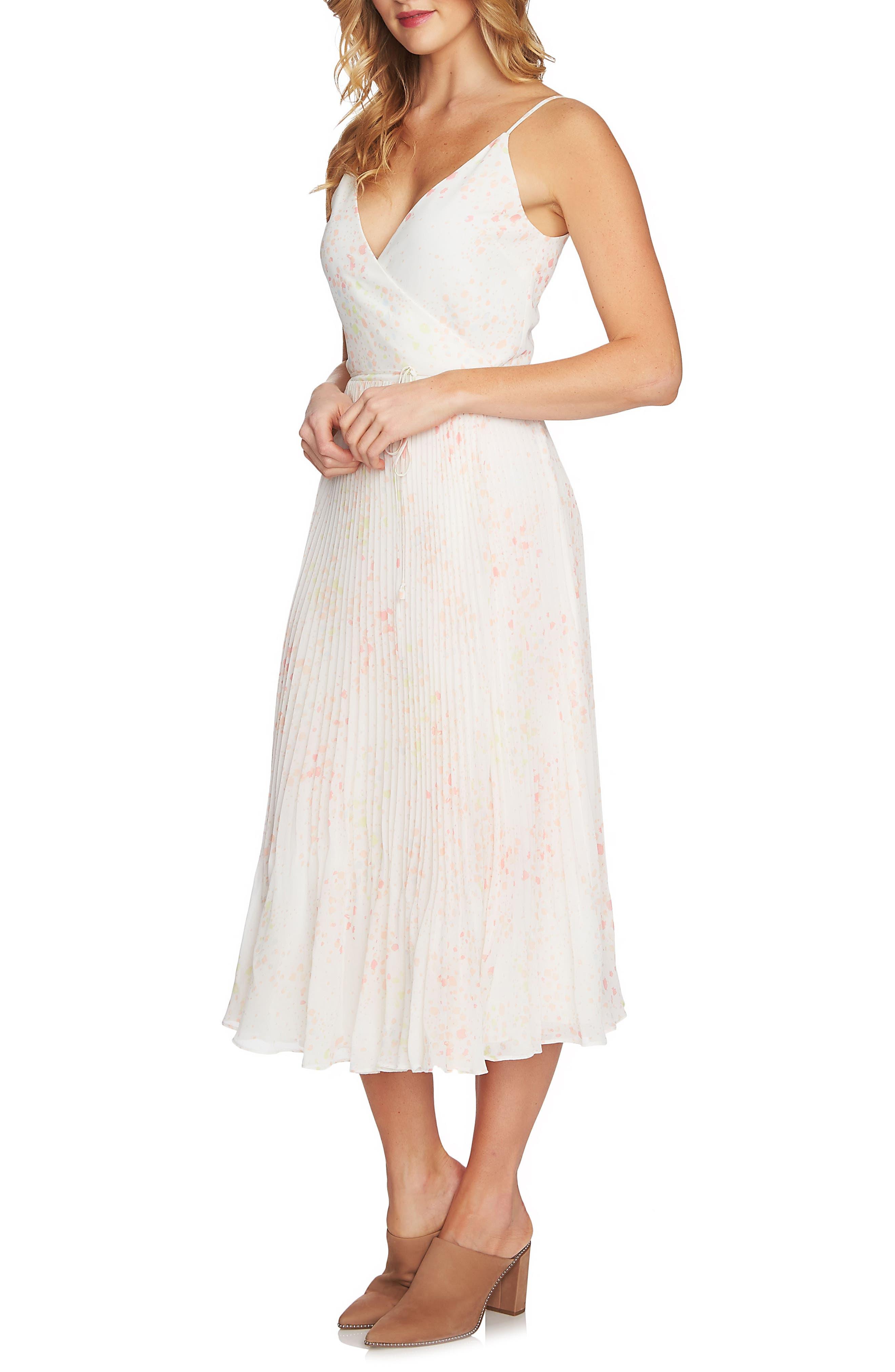 Print Pleated Wrap Midi Dress,                             Main thumbnail 1, color,                             103