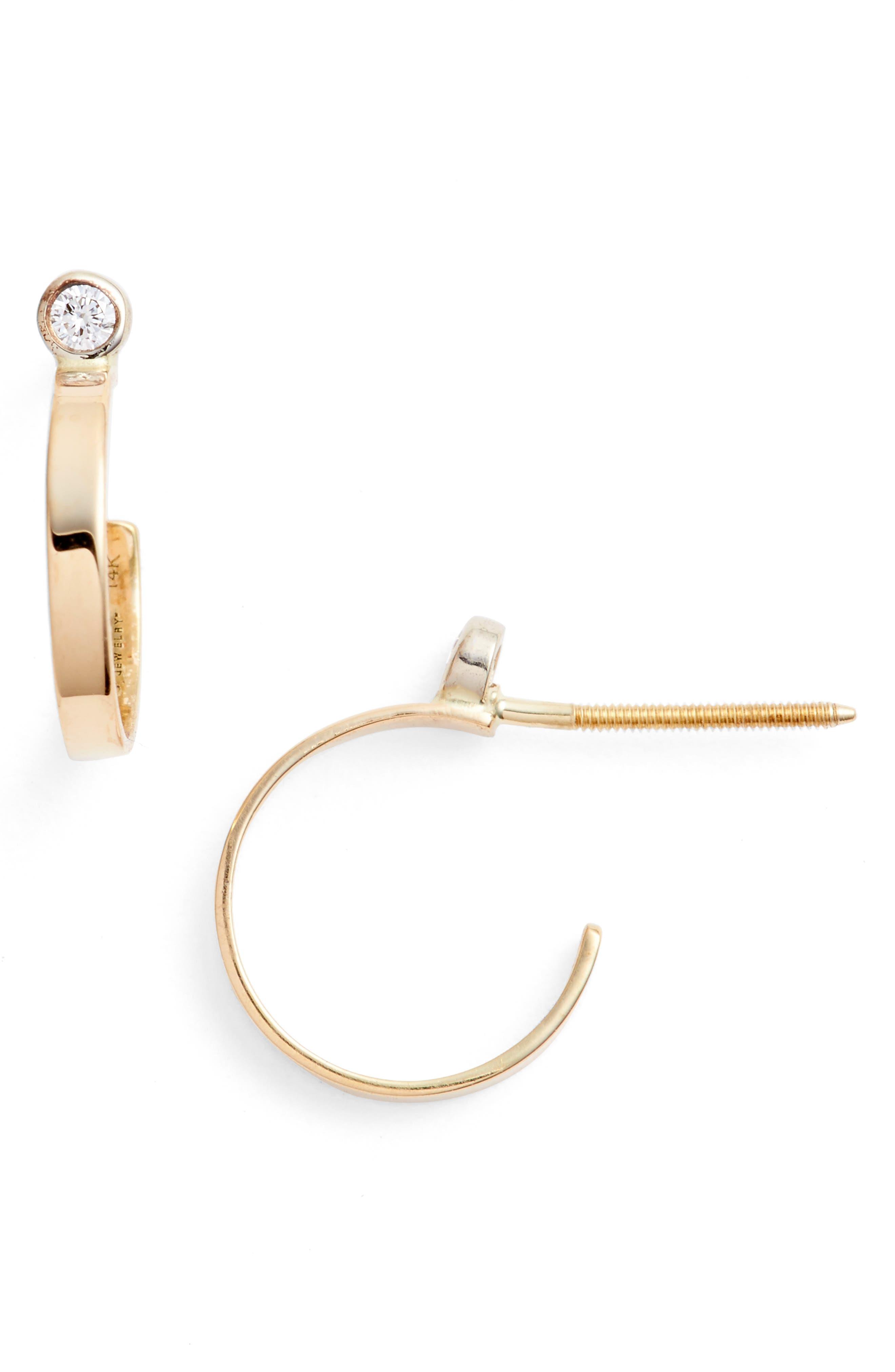 Diamond Hoop Earrings,                         Main,                         color, 710