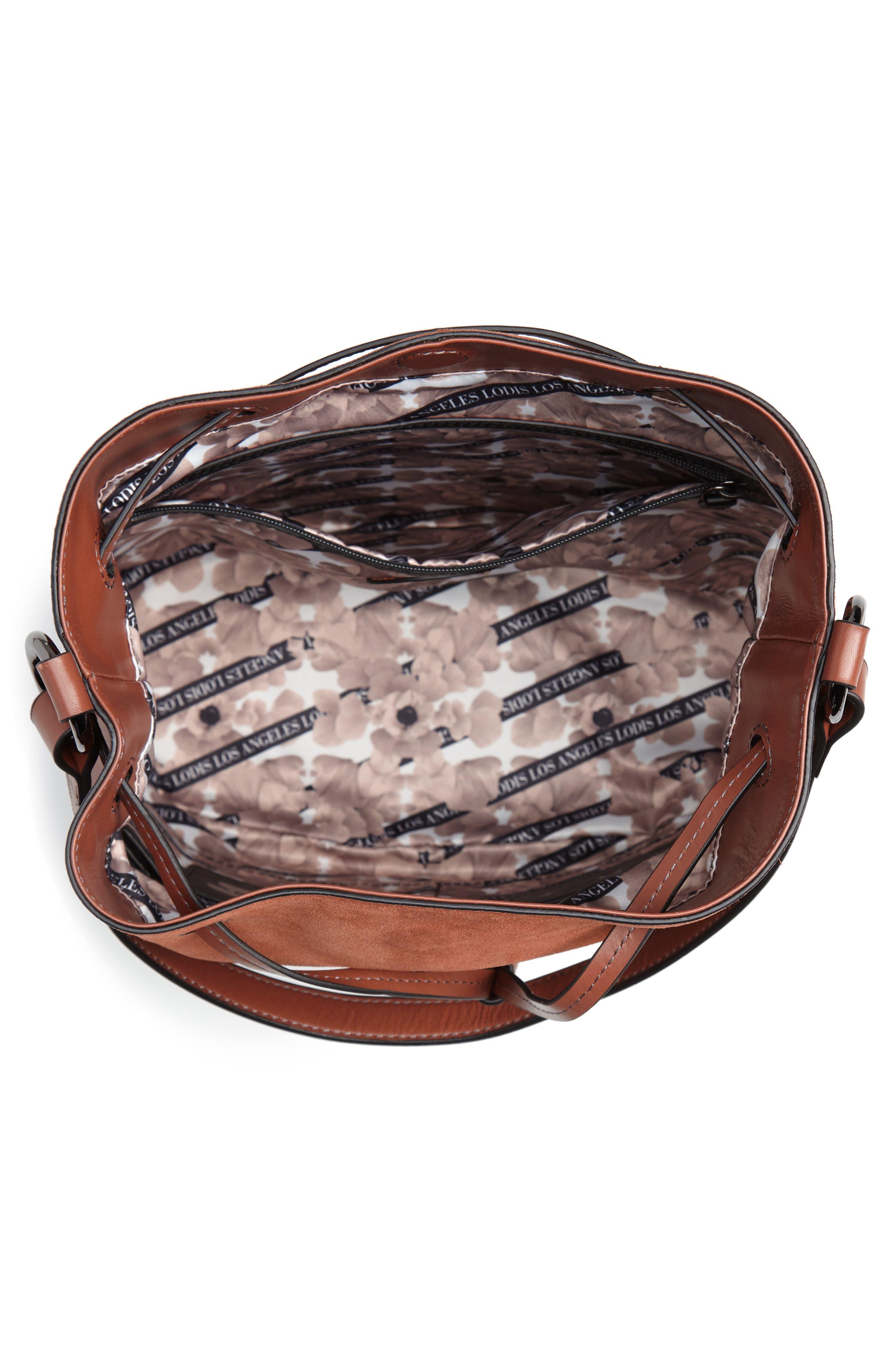 Jess Medium Drawstring Bucket Bag,                             Alternate thumbnail 4, color,                             SADDLE