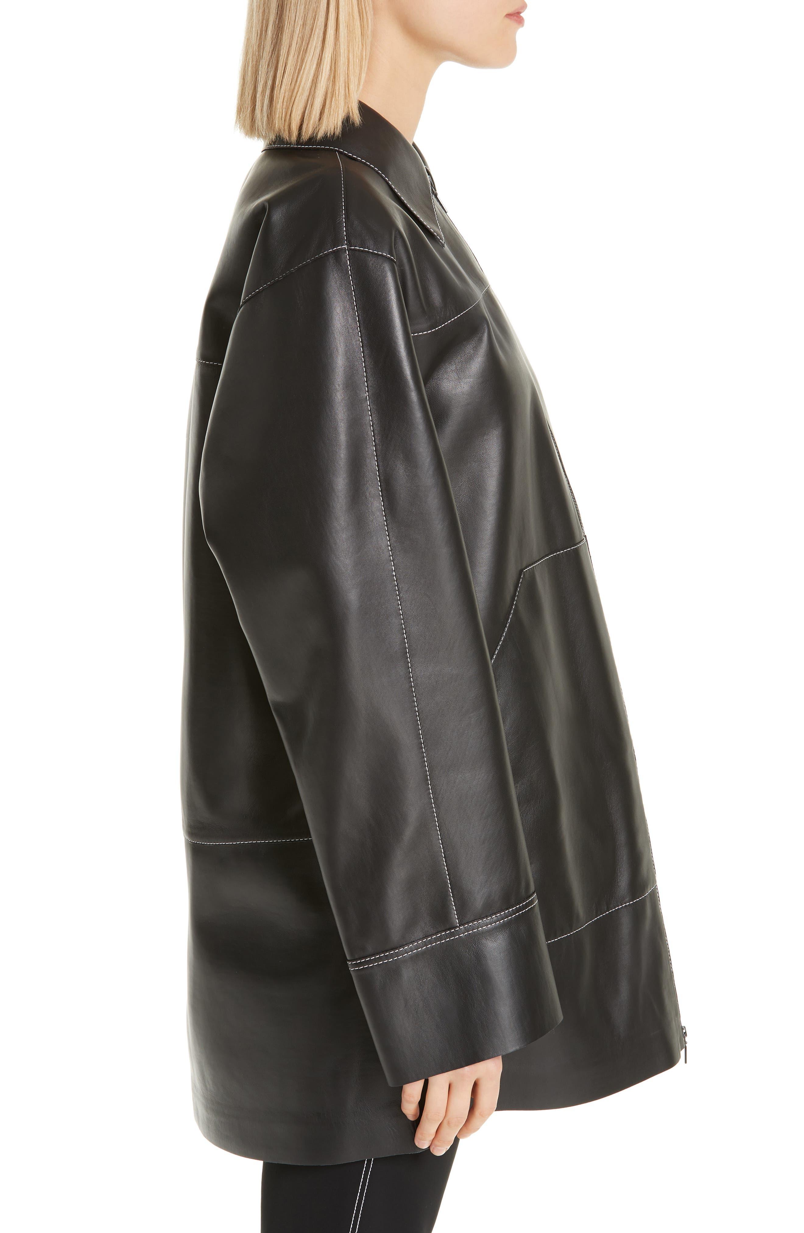 Christopher Leather Jacket,                             Alternate thumbnail 3, color,                             BLACK
