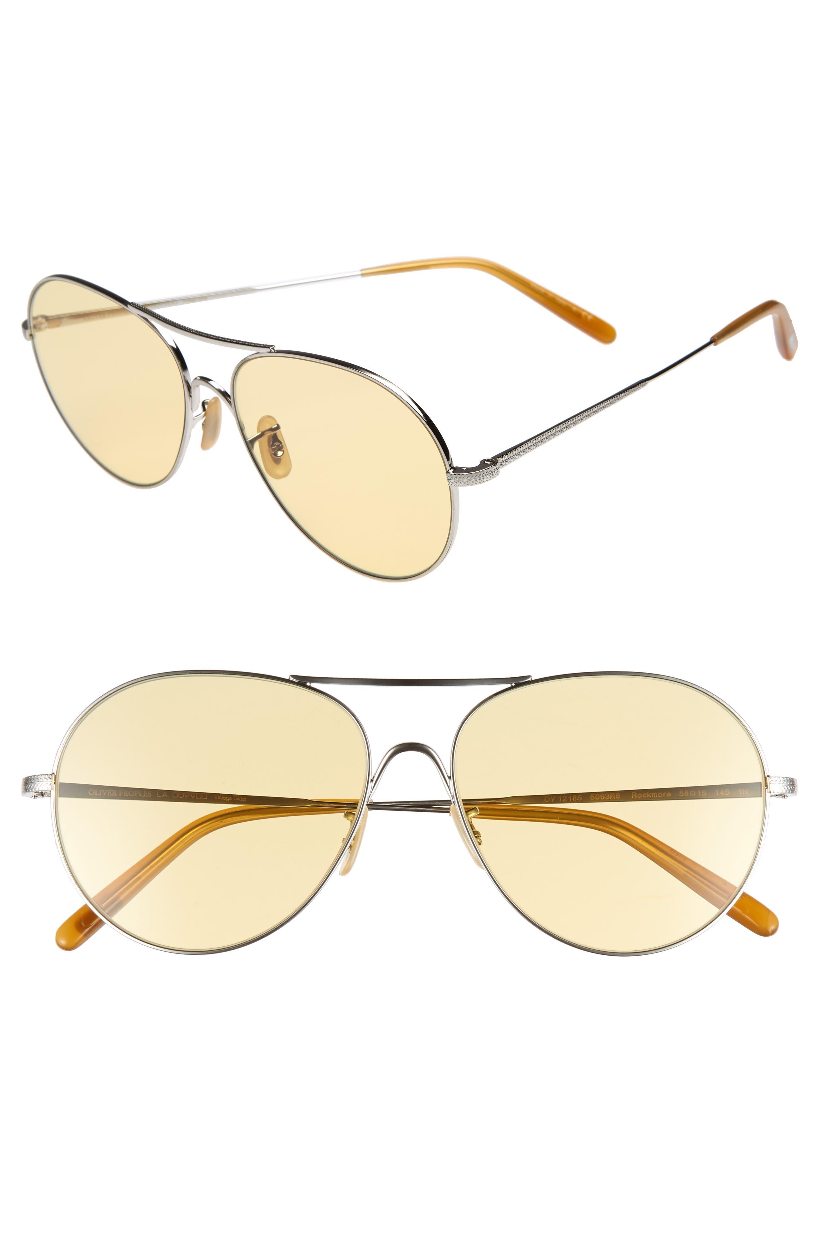 Rockmore 58mm Aviator Sunglasses,                         Main,                         color, SILVER
