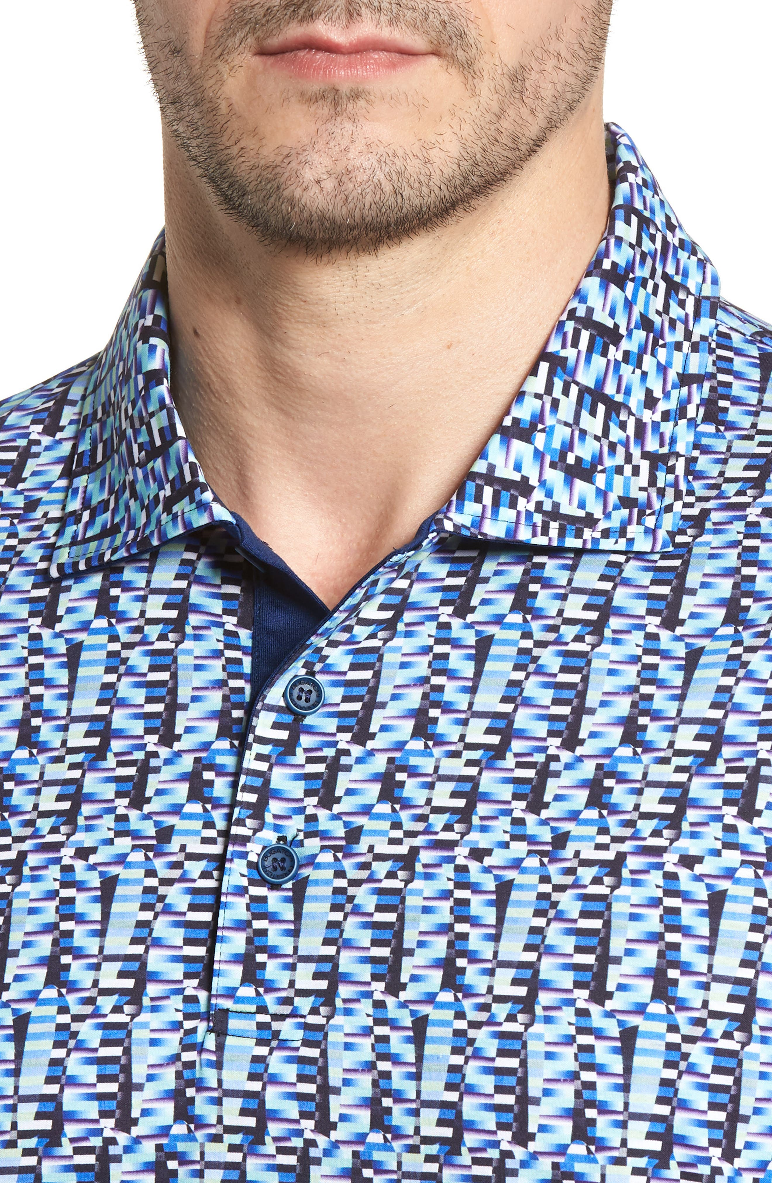 Classic Fit Abstract Brick Layout Polo,                             Alternate thumbnail 4, color,
