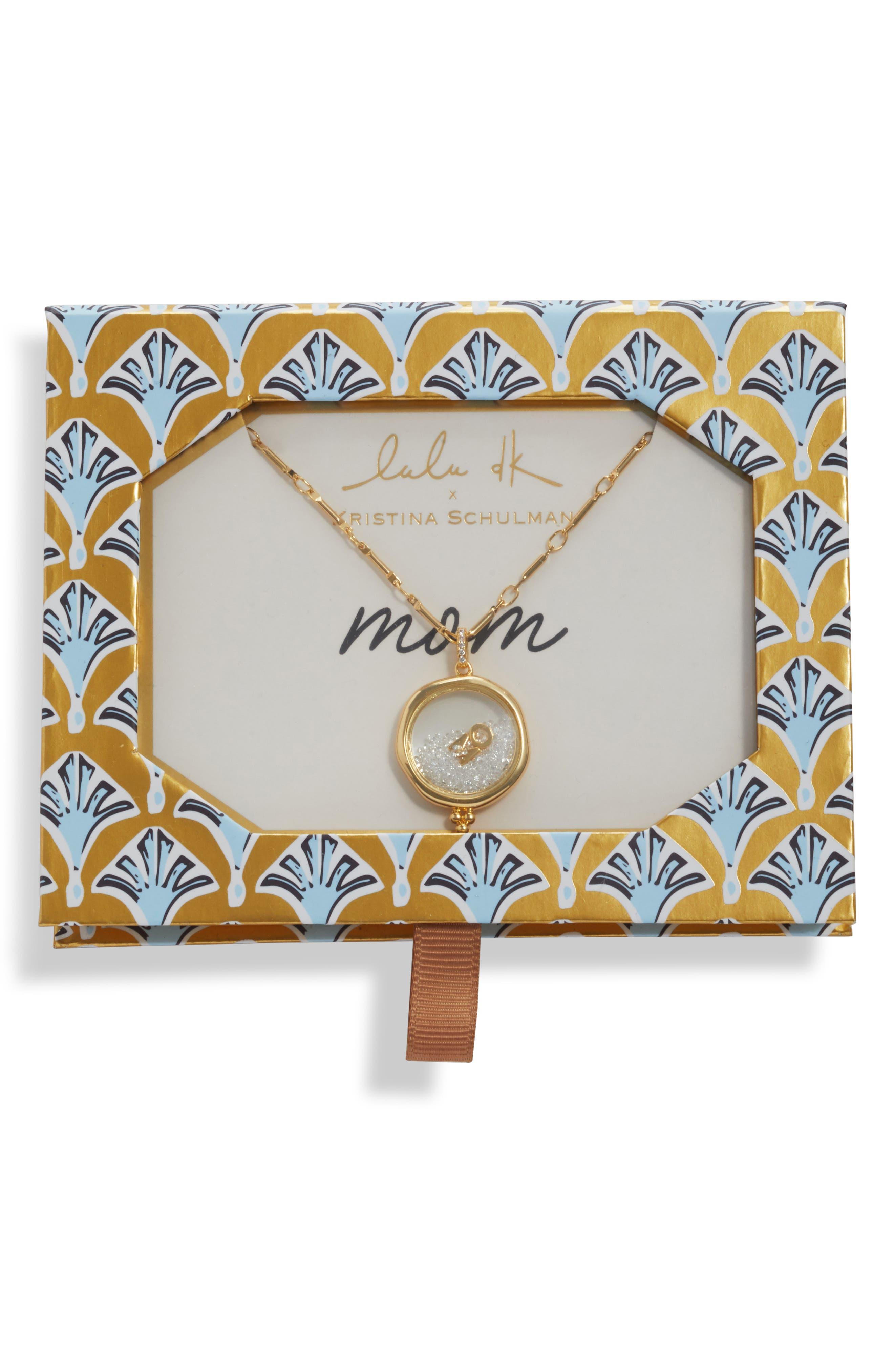 x Kristina Schulman Mom Shaker Pendant Necklace,                             Alternate thumbnail 3, color,                             GOLD