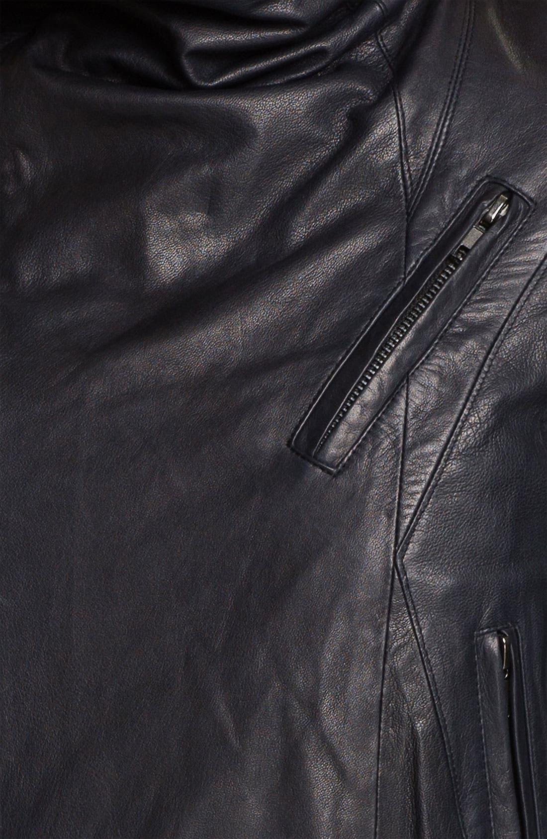 'Max' Seamed Leather Moto Jacket,                             Alternate thumbnail 4, color,                             401