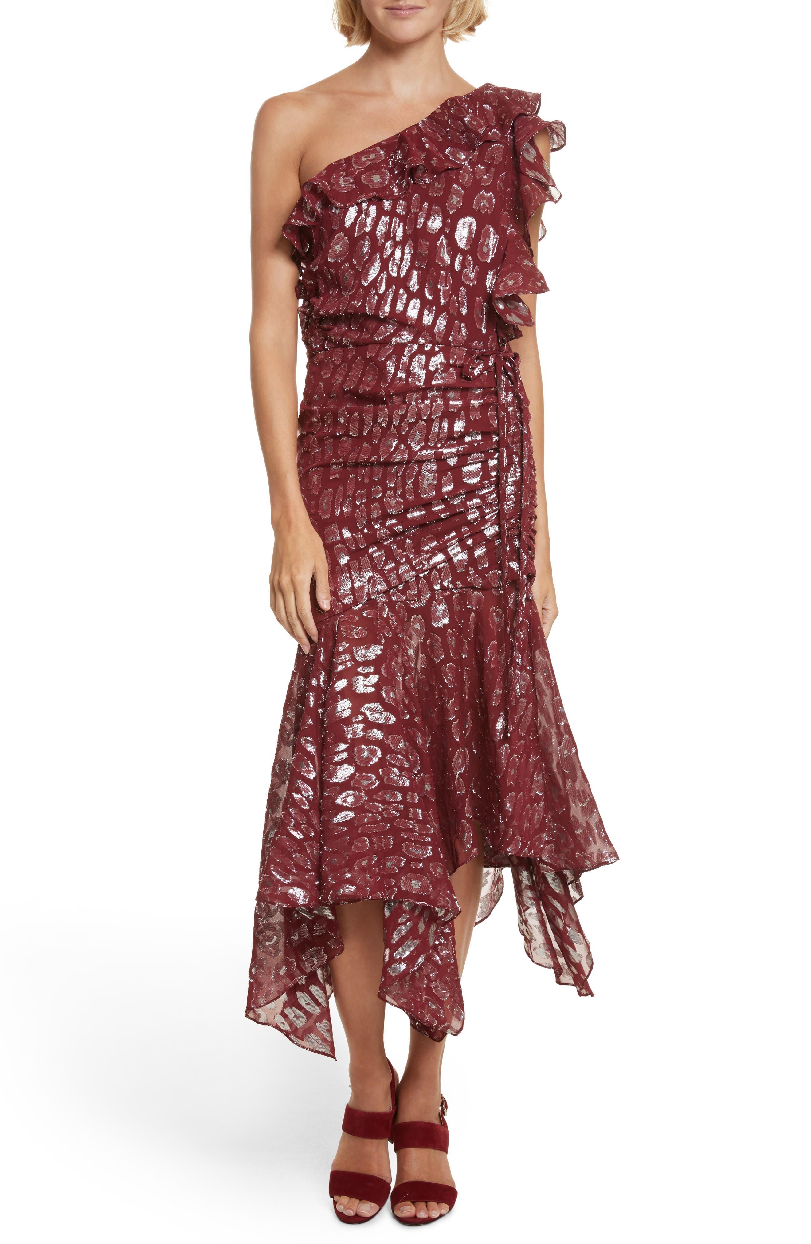 Leighton Fil Coupé One-Shoulder Dress,                             Main thumbnail 1, color,                             641