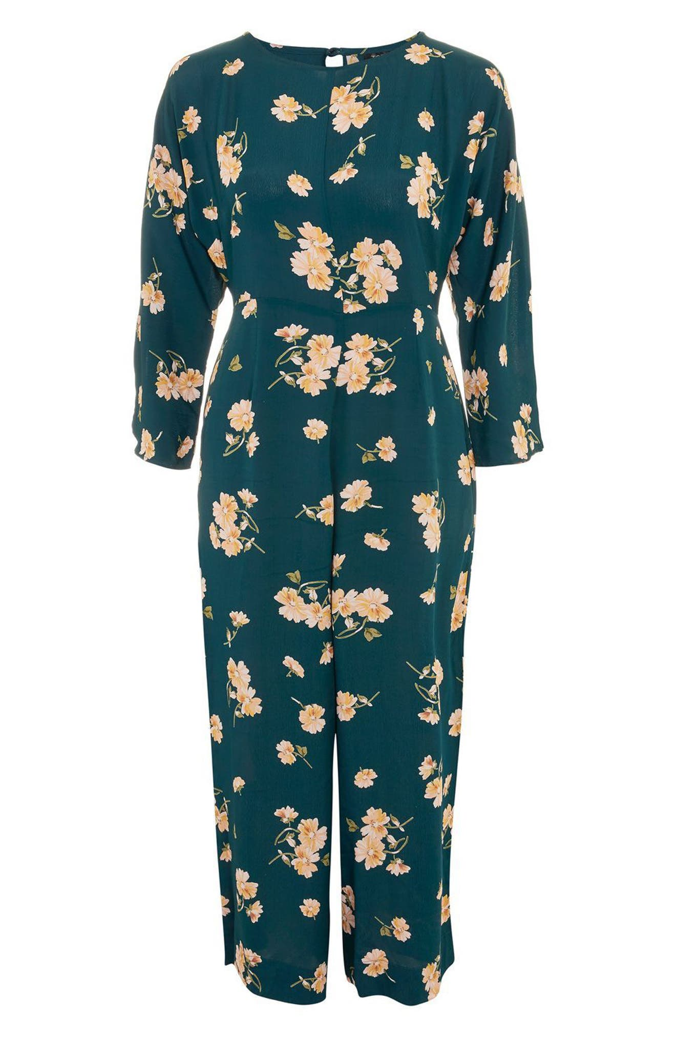Floral Print Jumpsuit,                             Alternate thumbnail 3, color,                             301