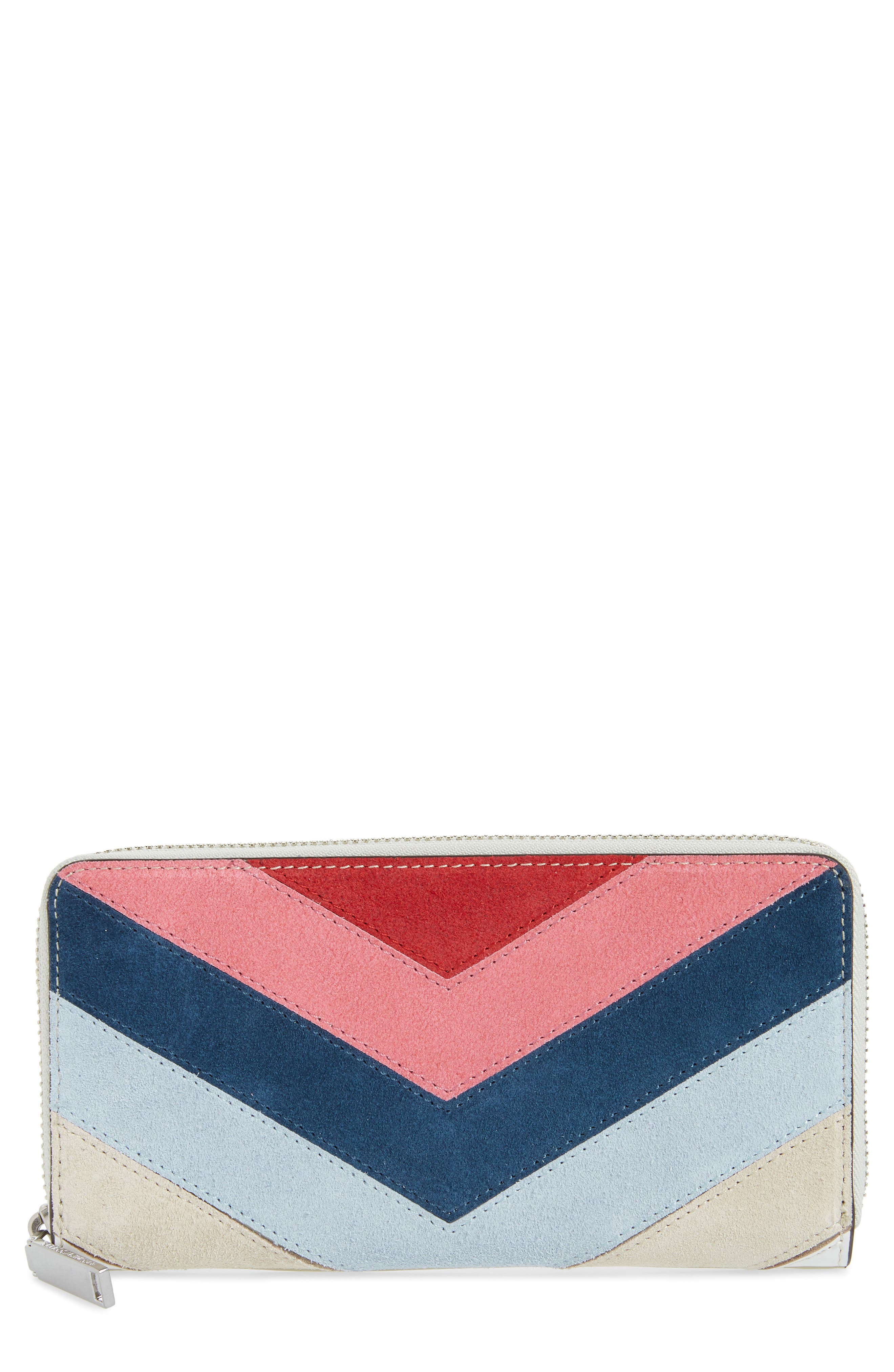 Chevron Quilted Suede Continental Wallet,                             Main thumbnail 2, color,