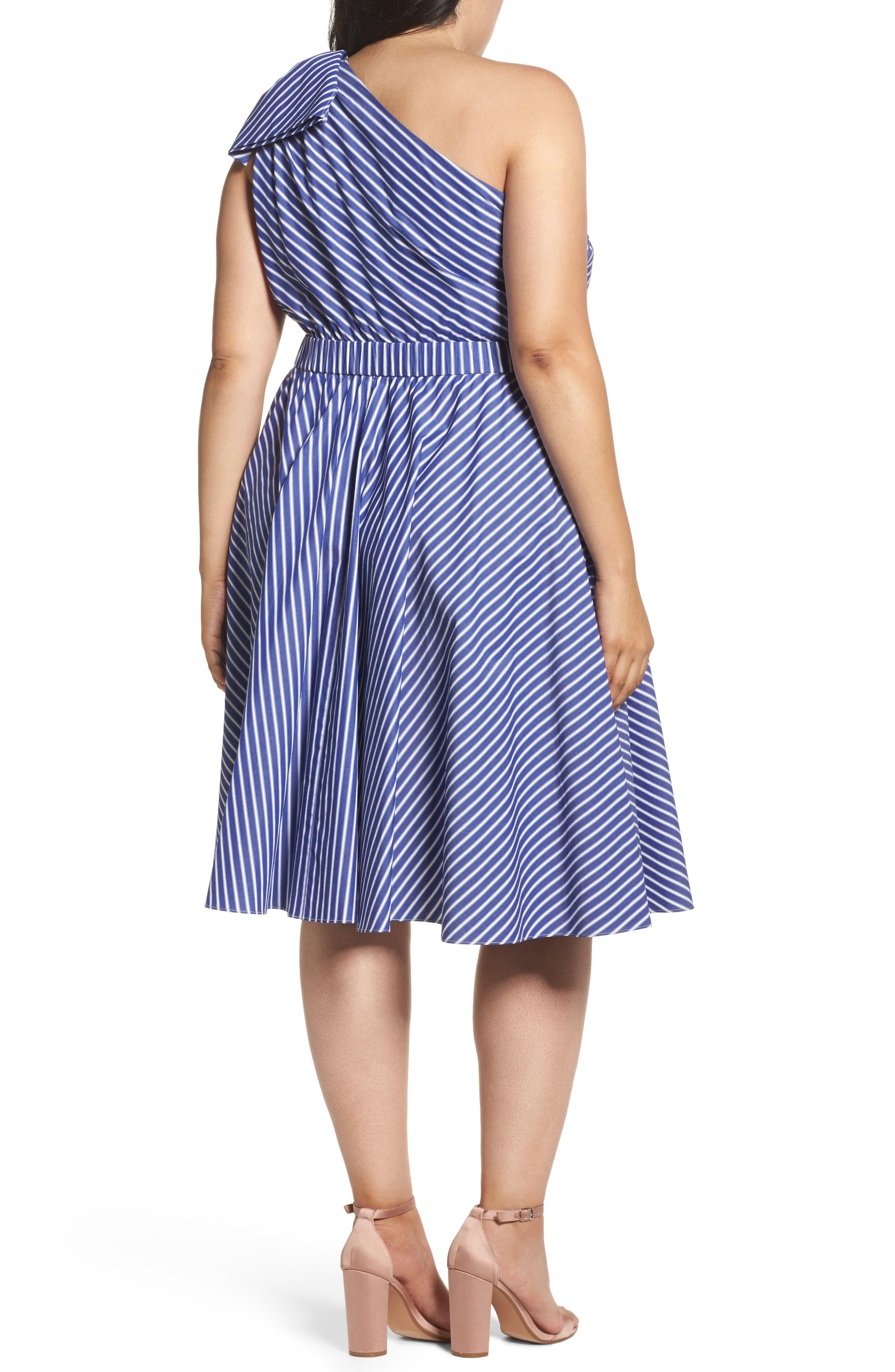 One-Shoulder Fit & Flare Dress,                             Alternate thumbnail 2, color,