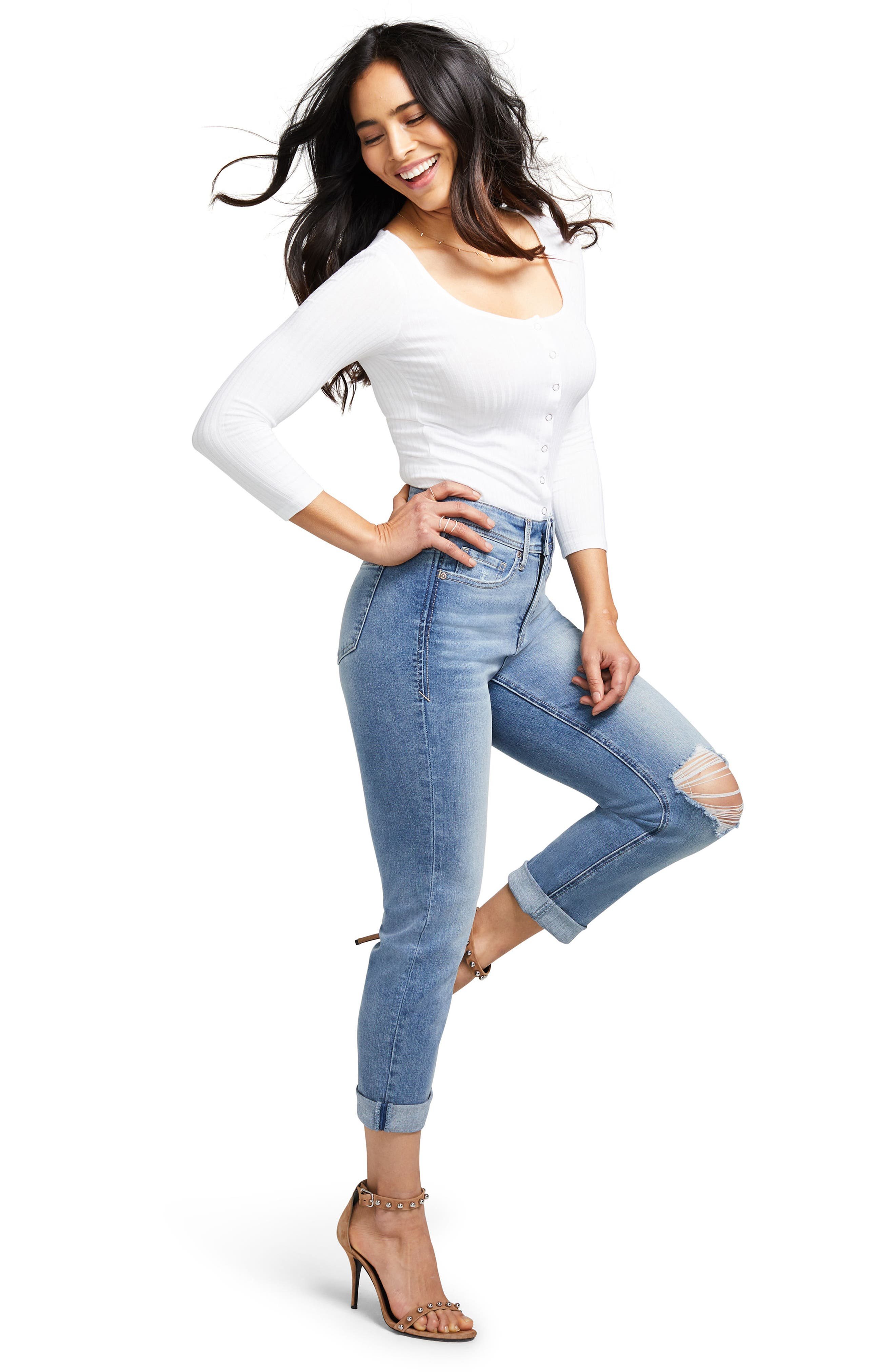Slim Straight Crop Jeans,                             Alternate thumbnail 4, color,                             416