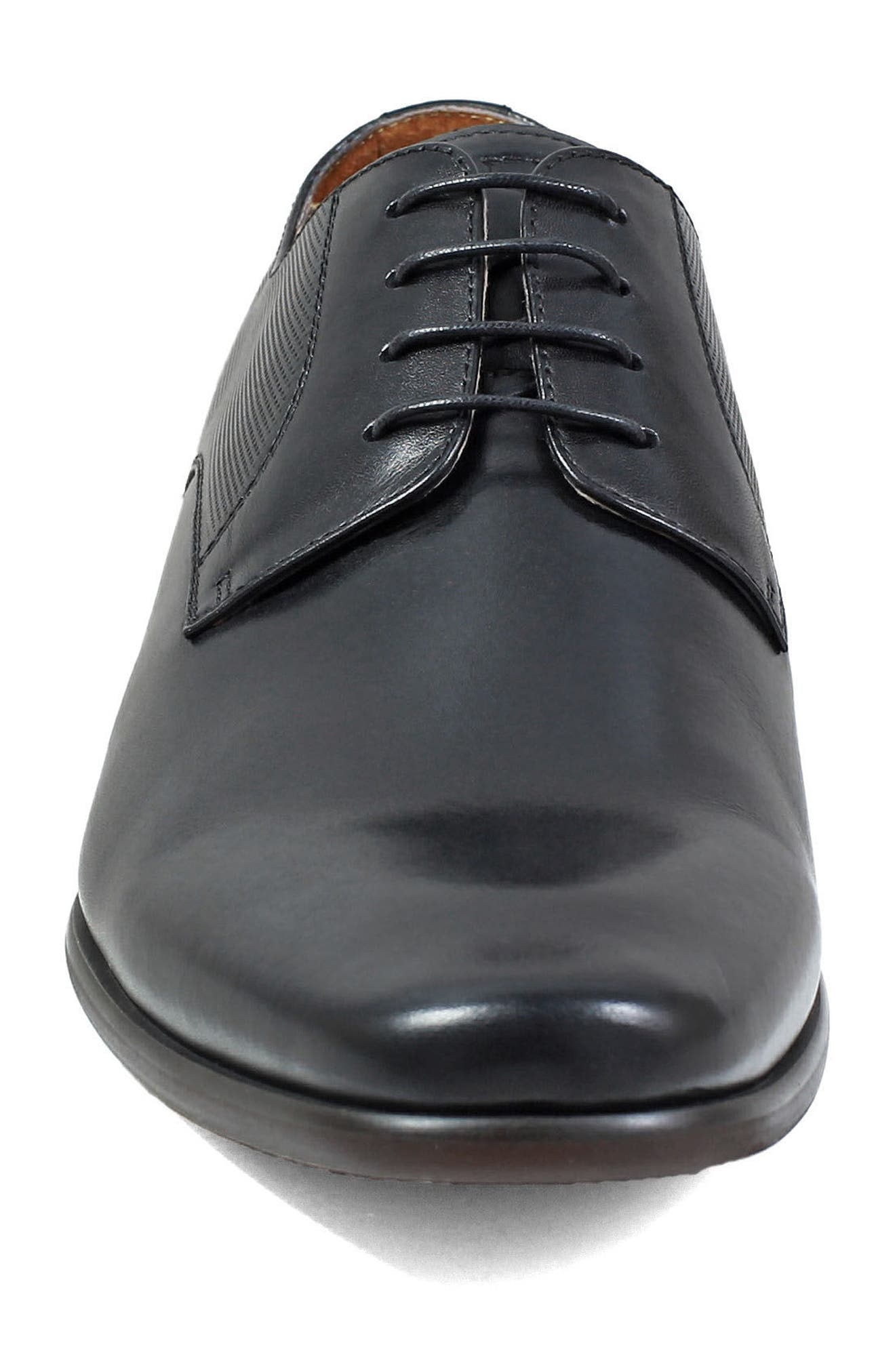 Postino Textured Plain Toe Derby,                             Alternate thumbnail 4, color,                             BLACK LEATHER