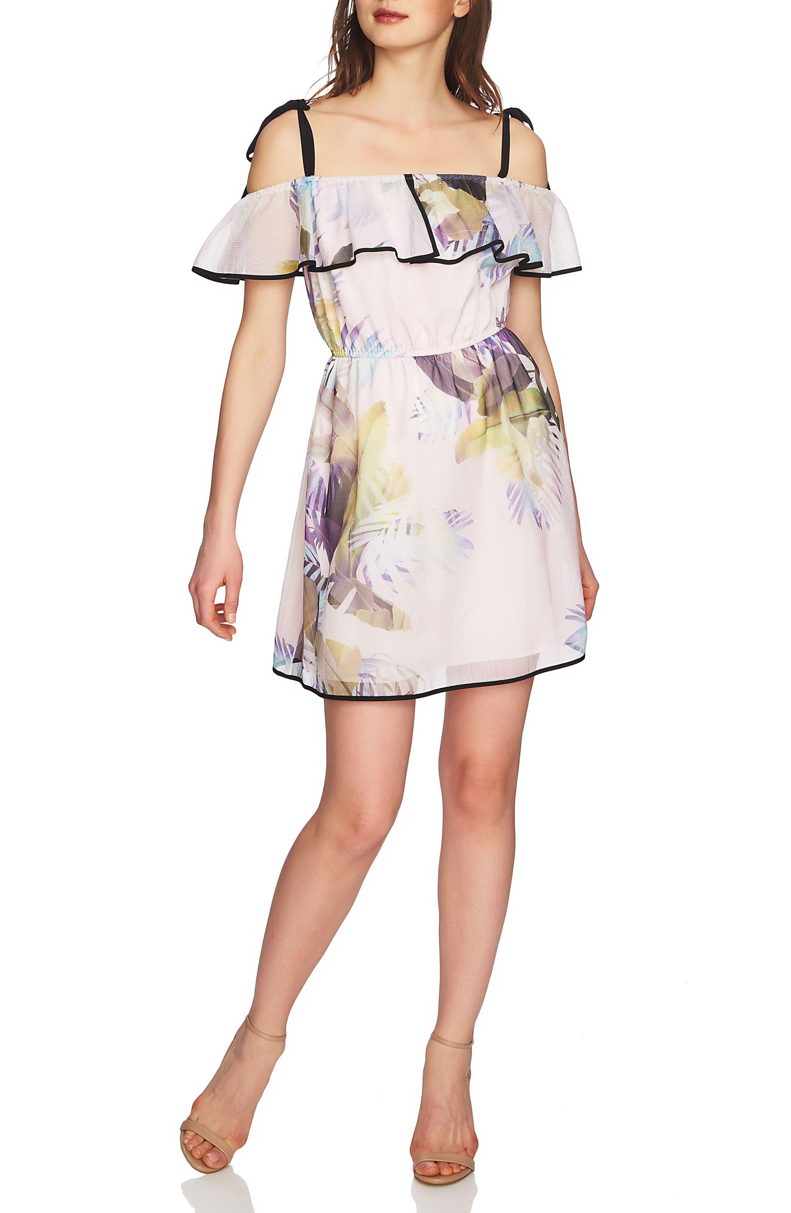 Cassie Ruffle Cold Shoulder Minidress,                         Main,                         color, 650